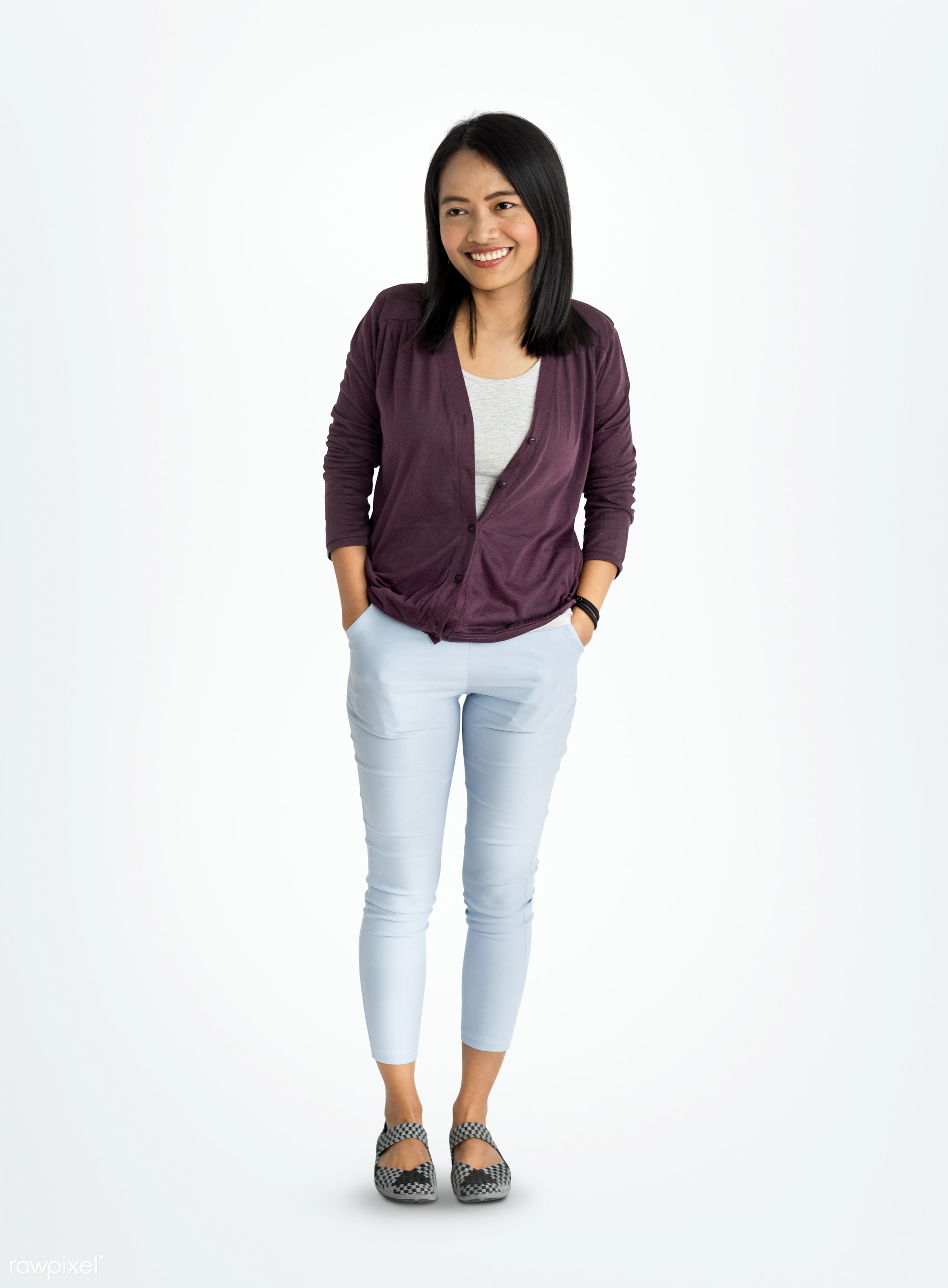 Young Woman Smiling Cheerful Concept - studio, expression, caucasian, asian, student, woman, lifestyle, lovely, smile,...