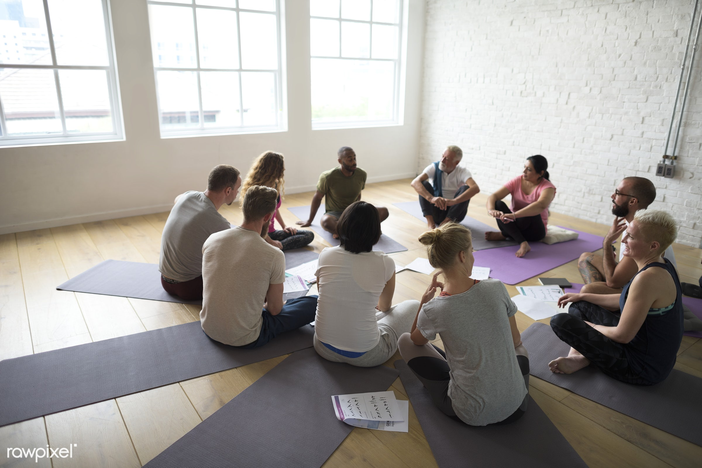 Yoga class concept  - respiration, physical, diverse, relax, recreation, people, stretching, together, balance, practicing,...