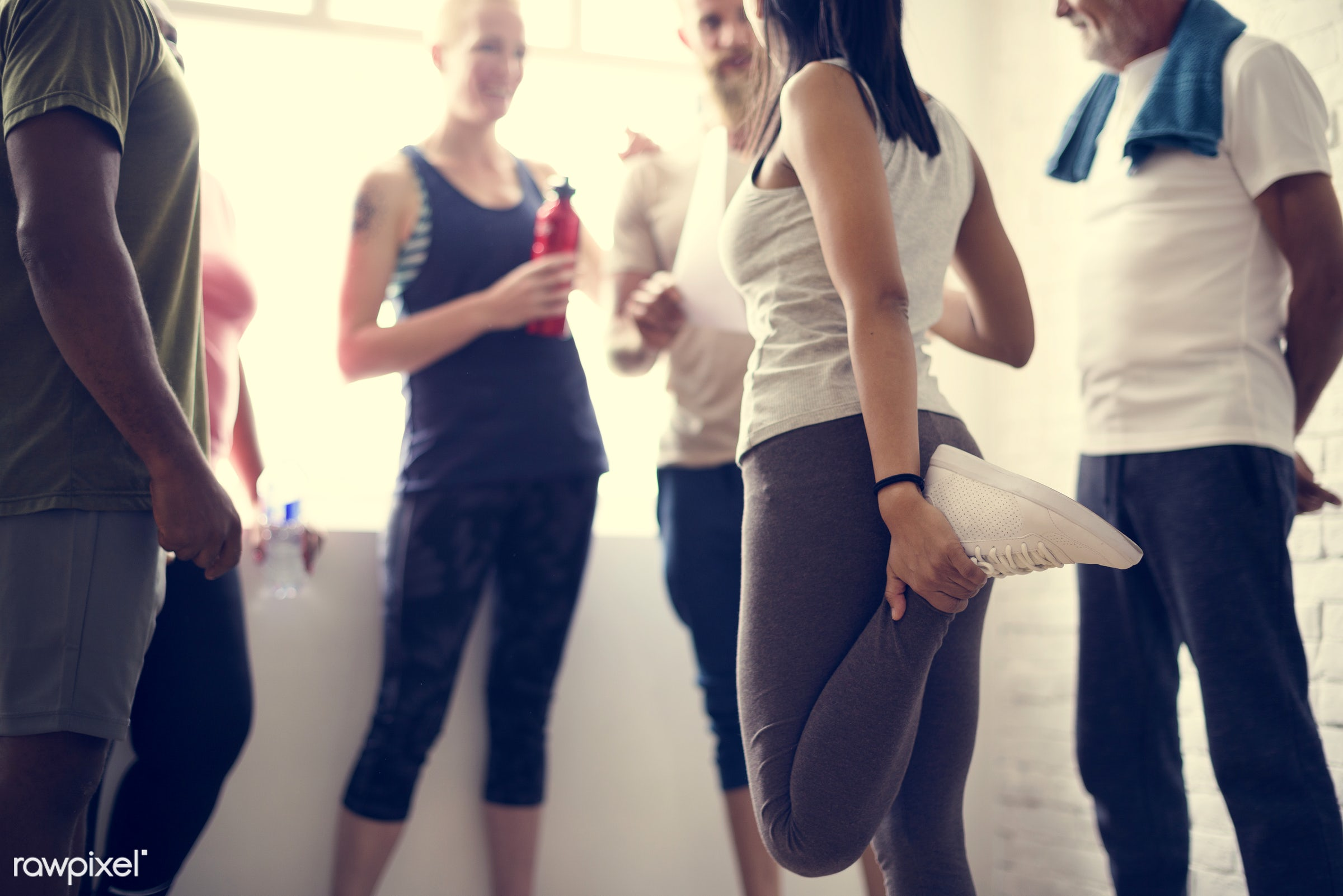 physical, discussion, diverse, relax, variation, recreation, people, stretching, together, break, friends, lifestyle, gym,...