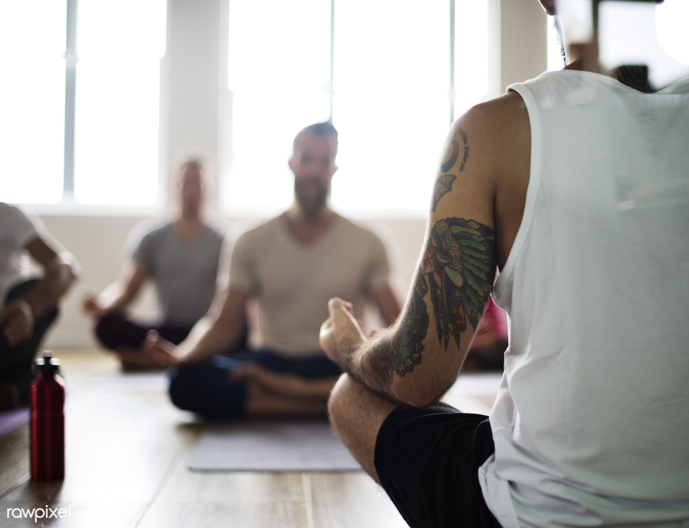 Yoga class concept  - respiration, physical, diverse, recreation, people, stretching, together, balance, practicing,...