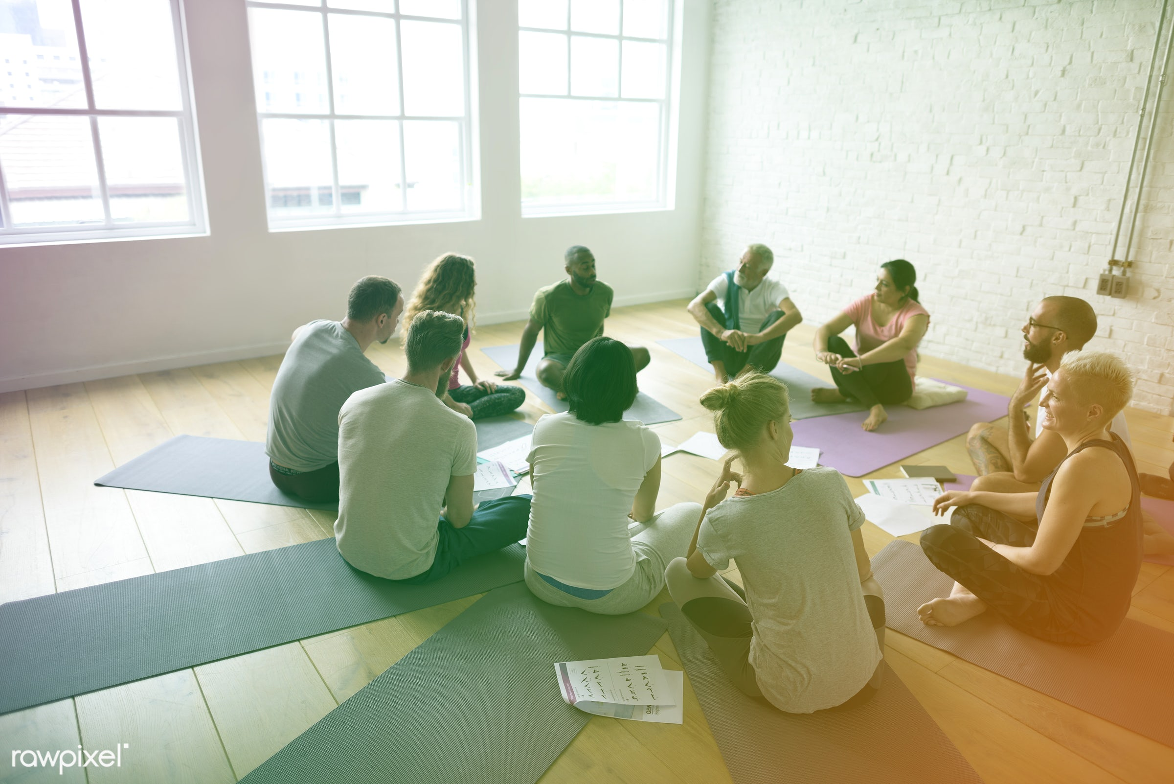 physical, relax, diverse, fitness, exercise, circle, recreation, people, together, training, balance, fit, lomo, happy,...