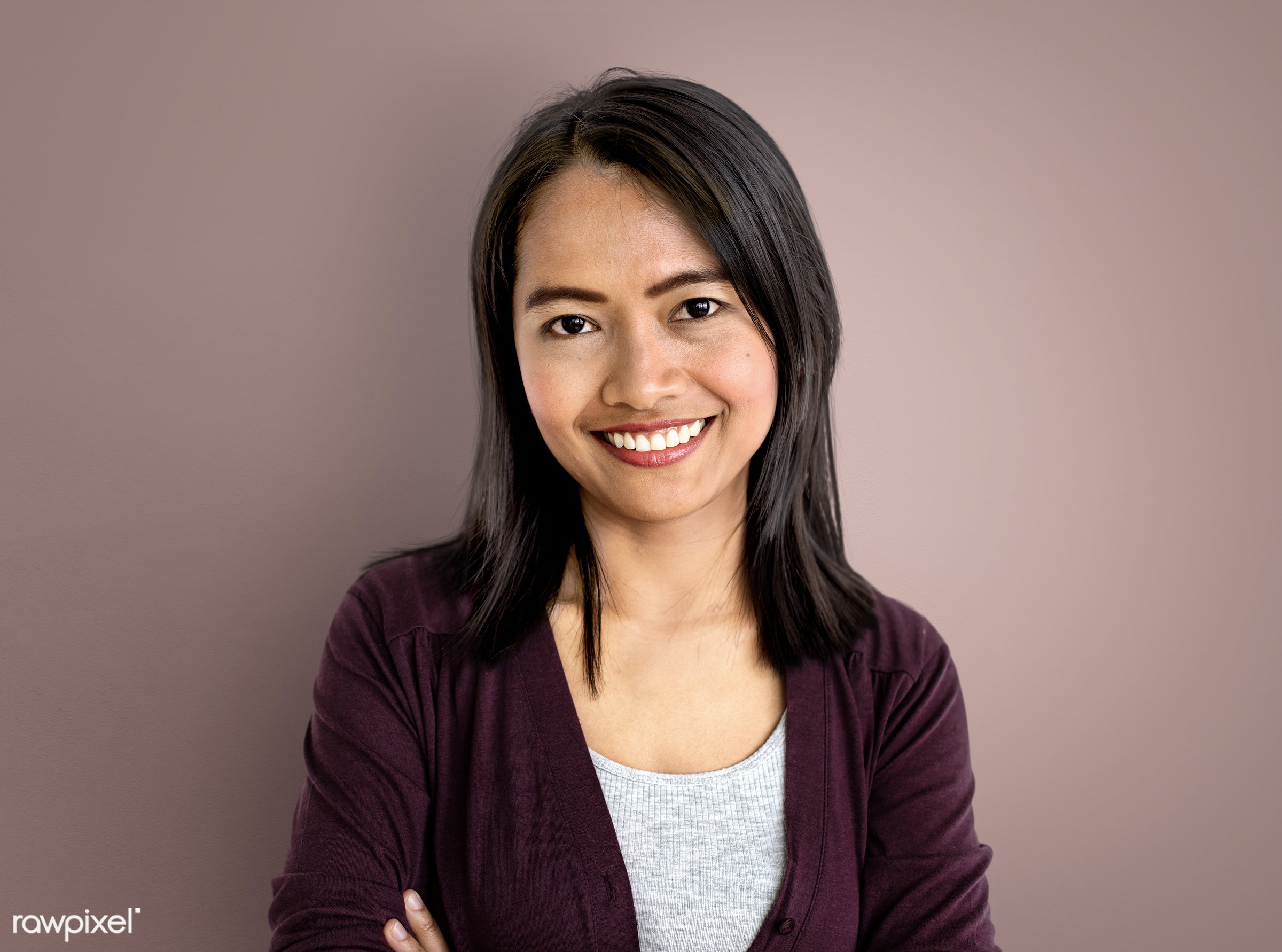Asian Woman Face Expression Confident Concept - expression, face, person, satisfied, bright, one, optimistic, cute, pretty,...