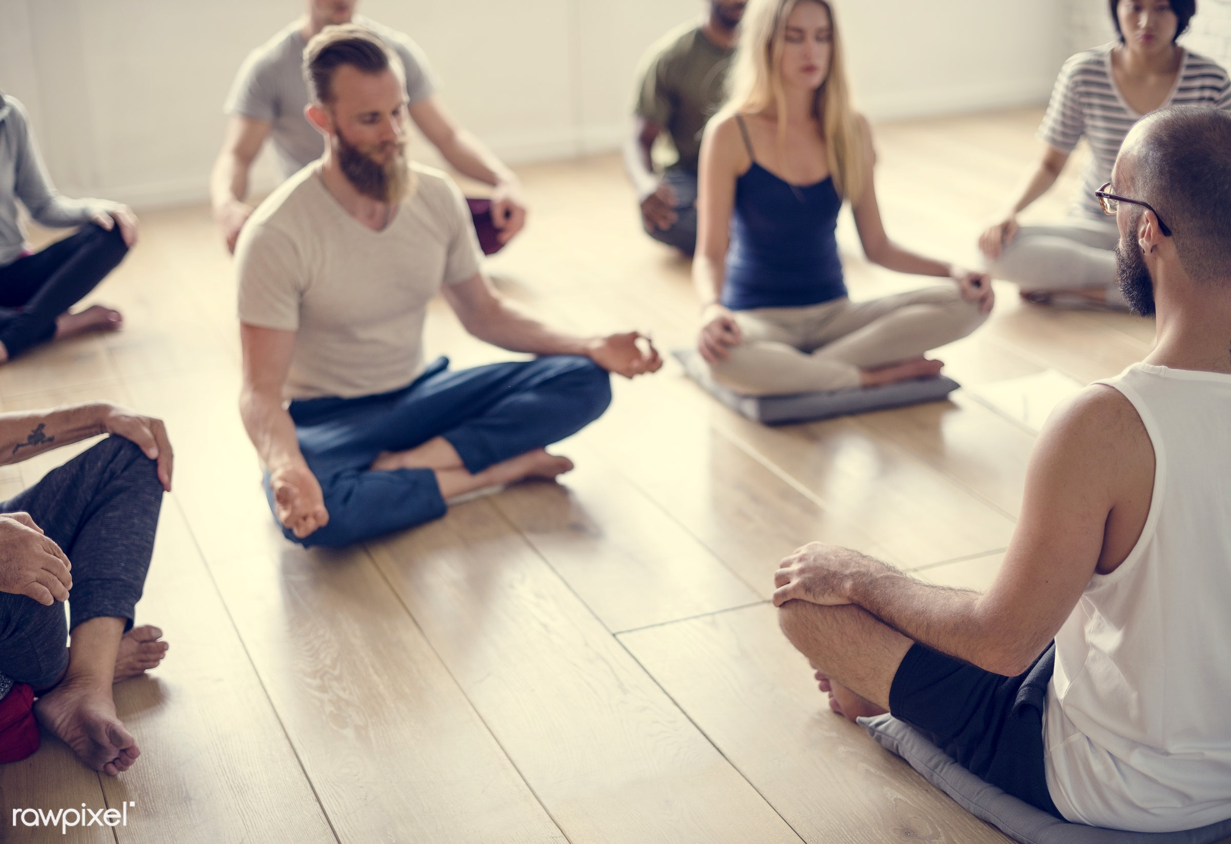 respiration, physical, diverse, recreation, people, stretching, together, balance, practicing, lifestyle, flexibility,...