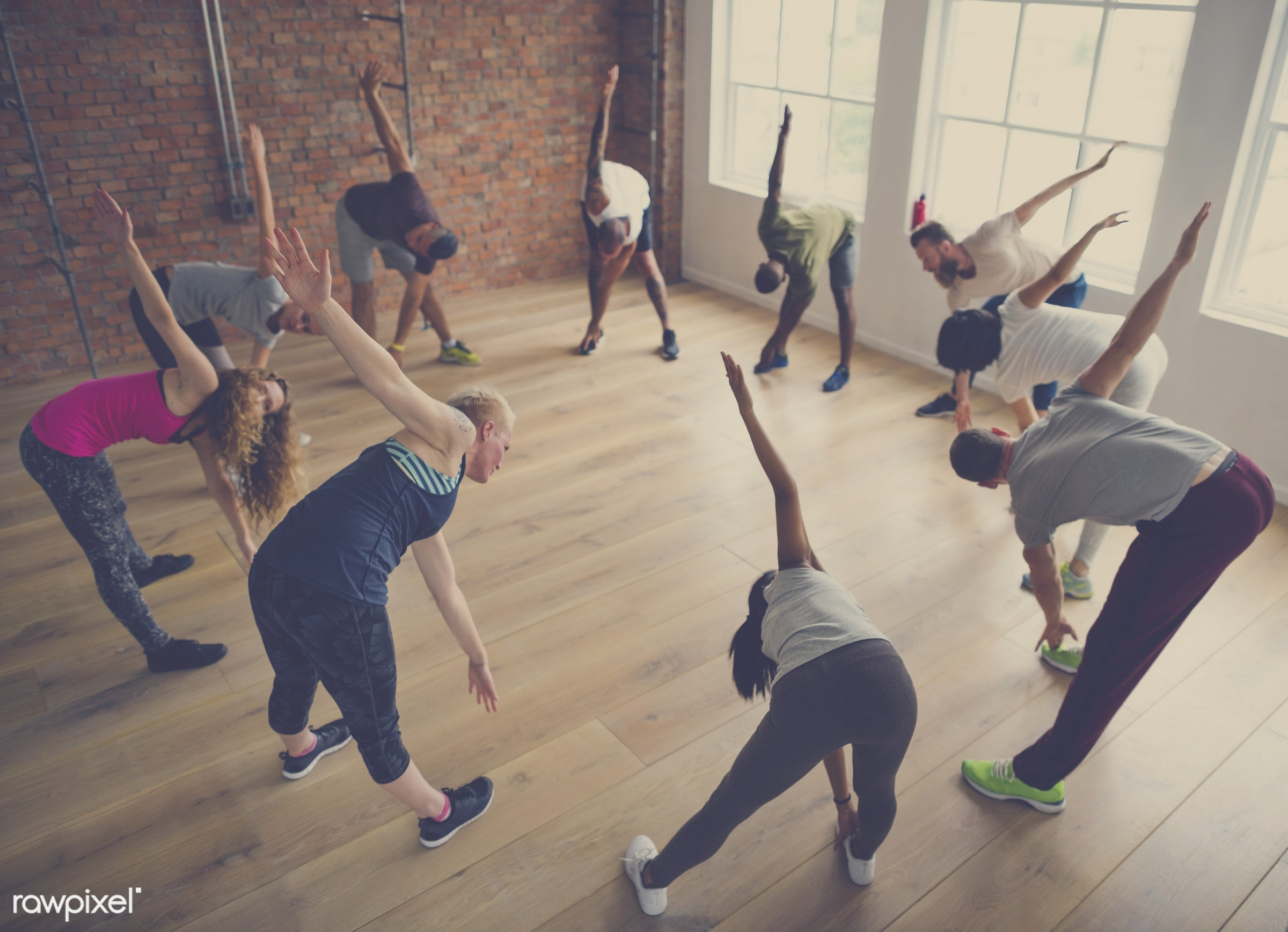 respiration, physical, diverse, relax, variation, recreation, people, stretching, together, balance, practicing, lifestyle,...
