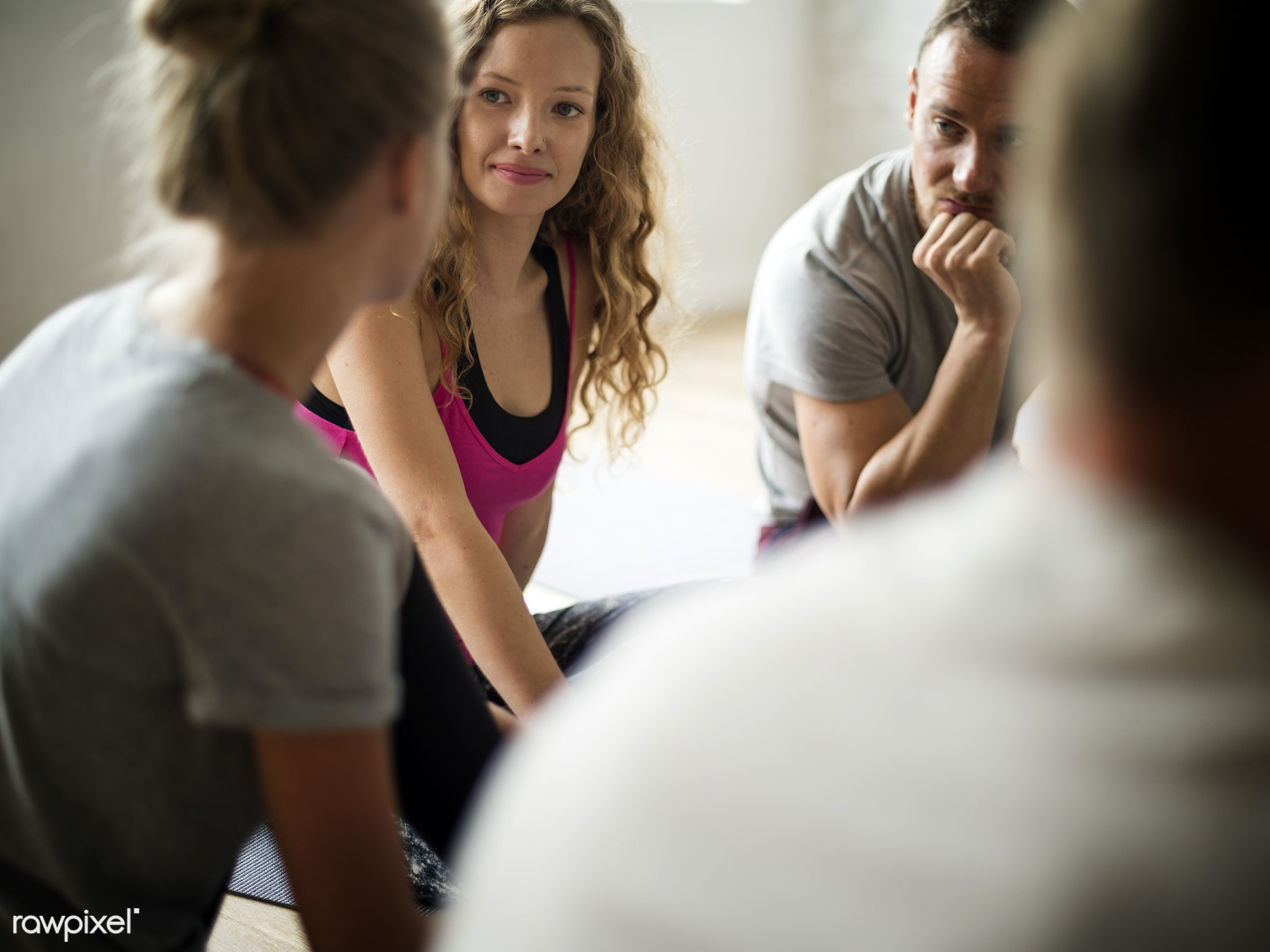 physical, discussion, diverse, relax, variation, recreation, stretching, people, together, break, friends, lifestyle, gym,...