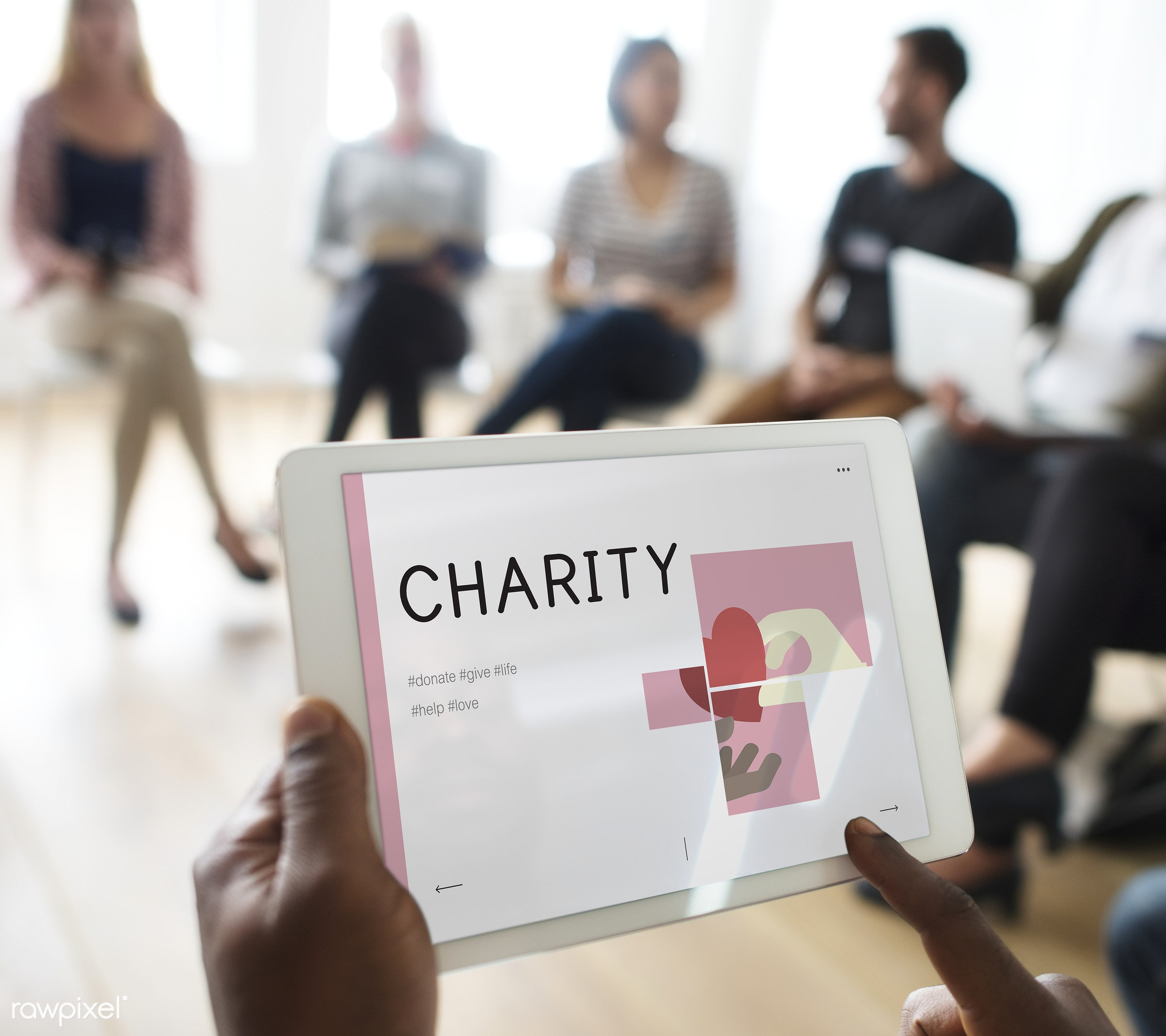 Man holding tablet with charity in seminar - class, digital, digital tablet, diverse, diversity, equality, group, group of...
