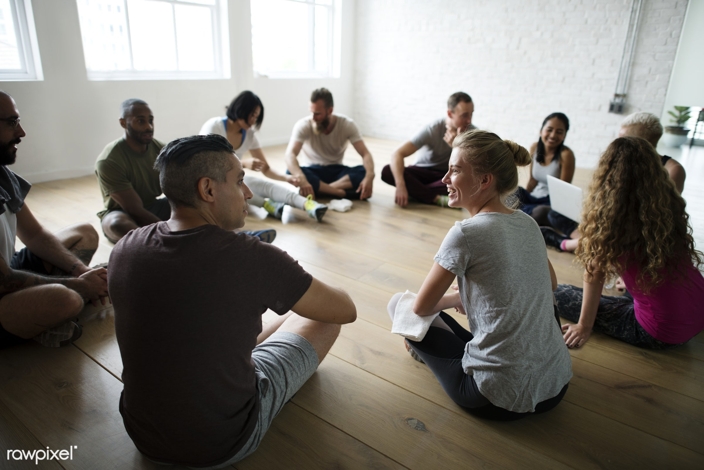 Health Club Concept  - physical, discussion, diverse, relax, variation, recreation, people, stretching, together, break,...