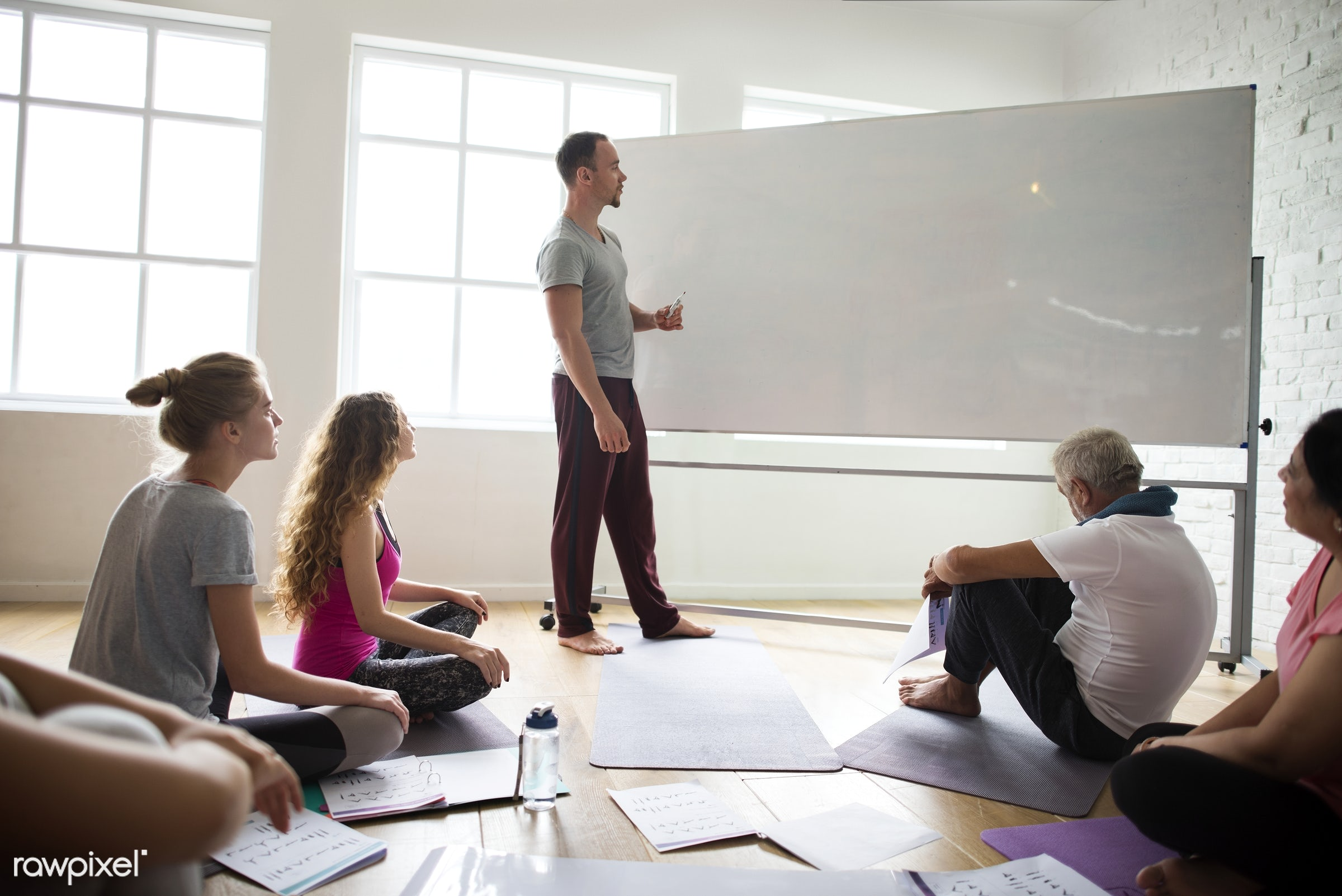 Yoga class concept  - respiration, physical, diverse, relax, recreation, people, together, balance, practicing, lifestyle,...