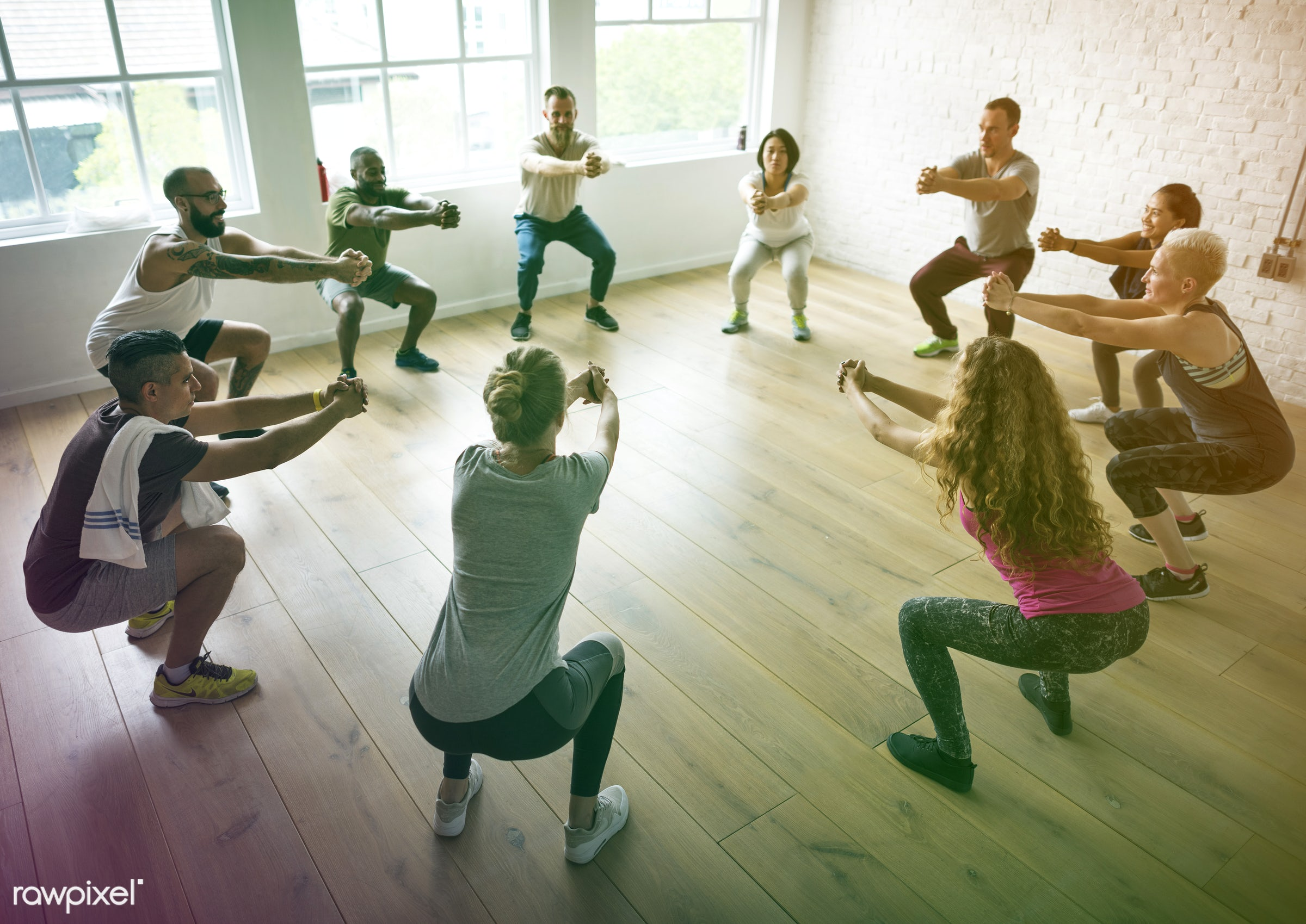 respiration, physical, recreation, people, stretching, together, lomo, practicing, lifestyle, flexibility, exercising, class...