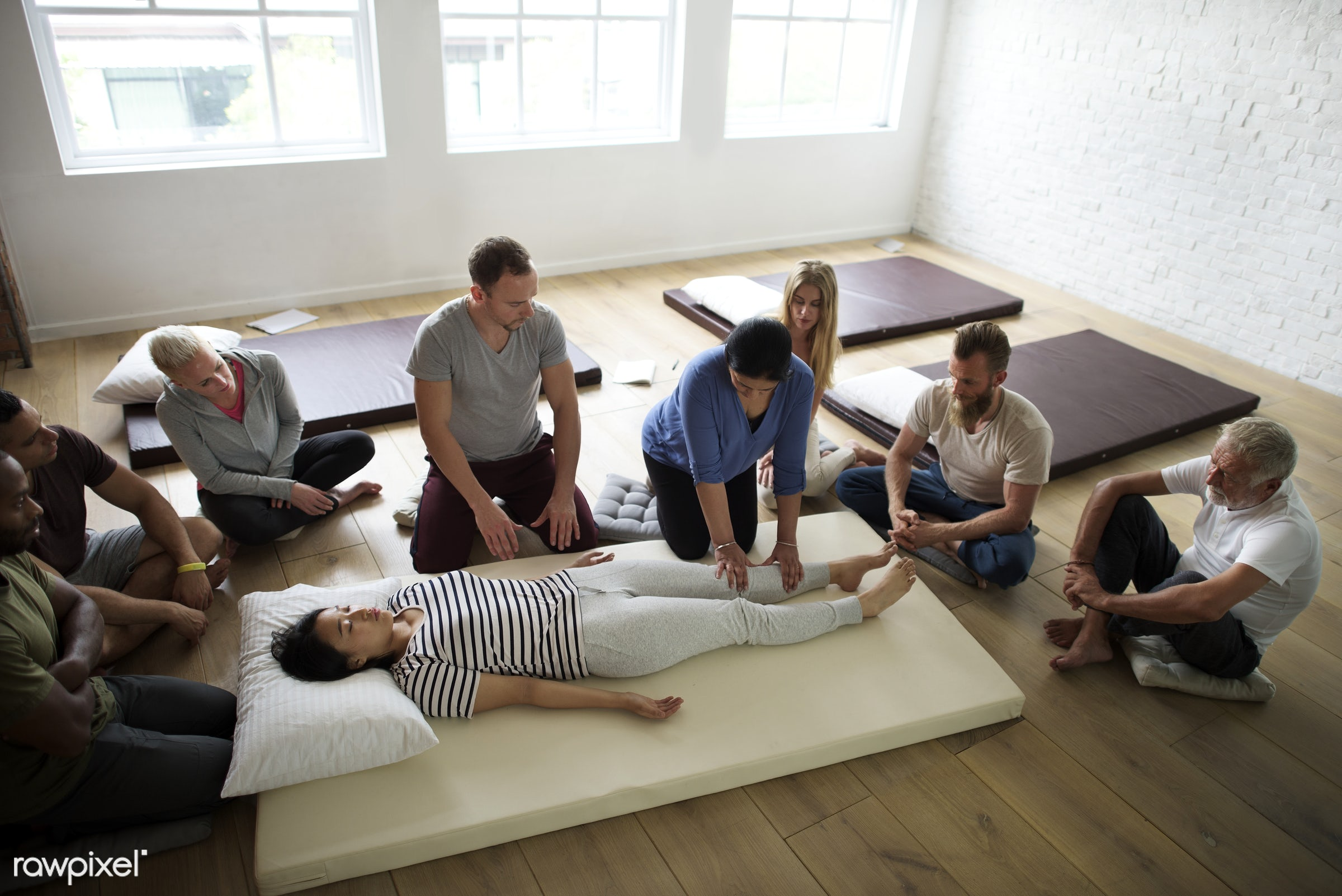 Massage therapy group training class - position, person, knowledge, relax, treatment, indoors, masseur, massaging, people,...