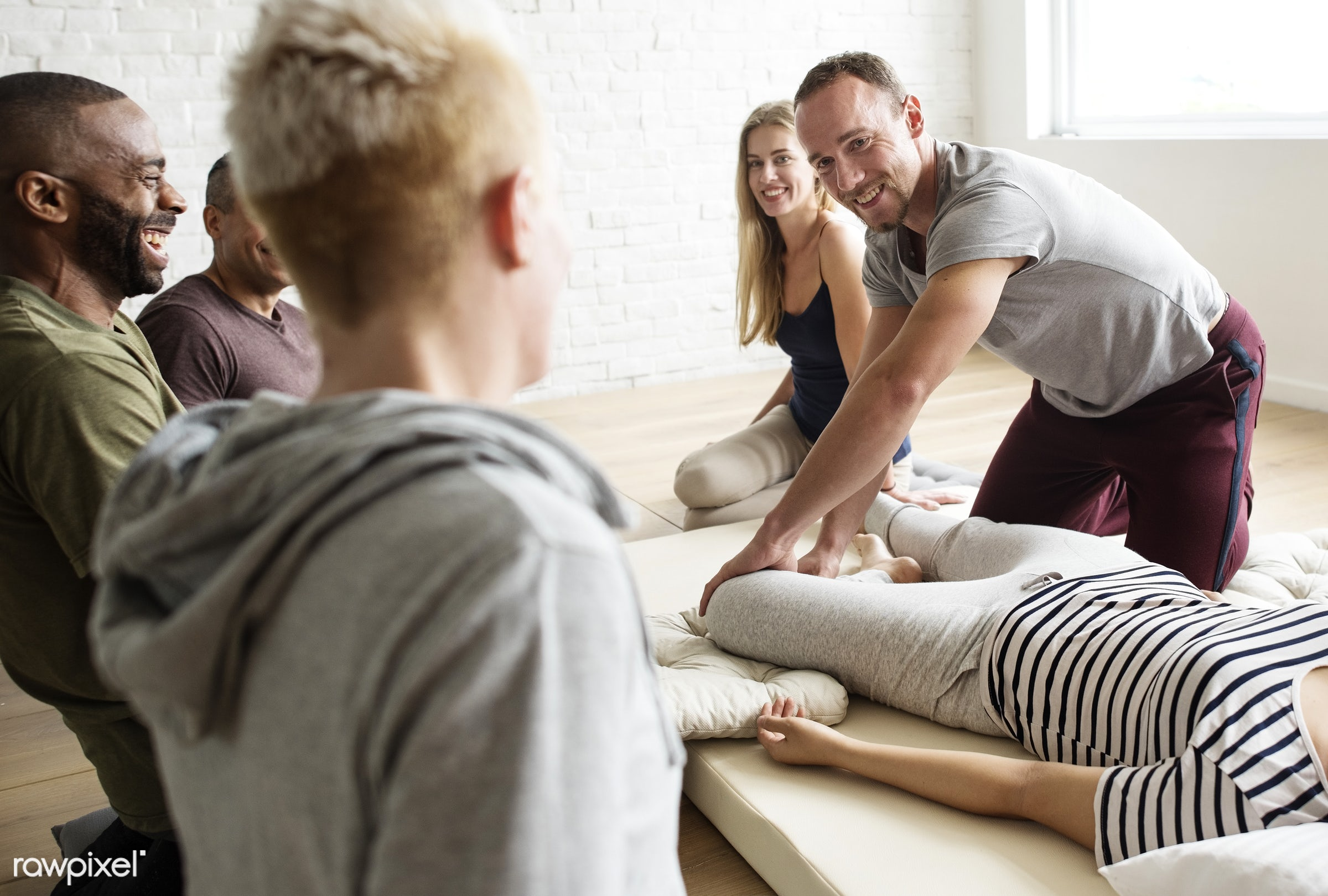 Massage therapy group training class - position, person, knowledge, relax, treatment, indoors, massaging, masseur, people,...