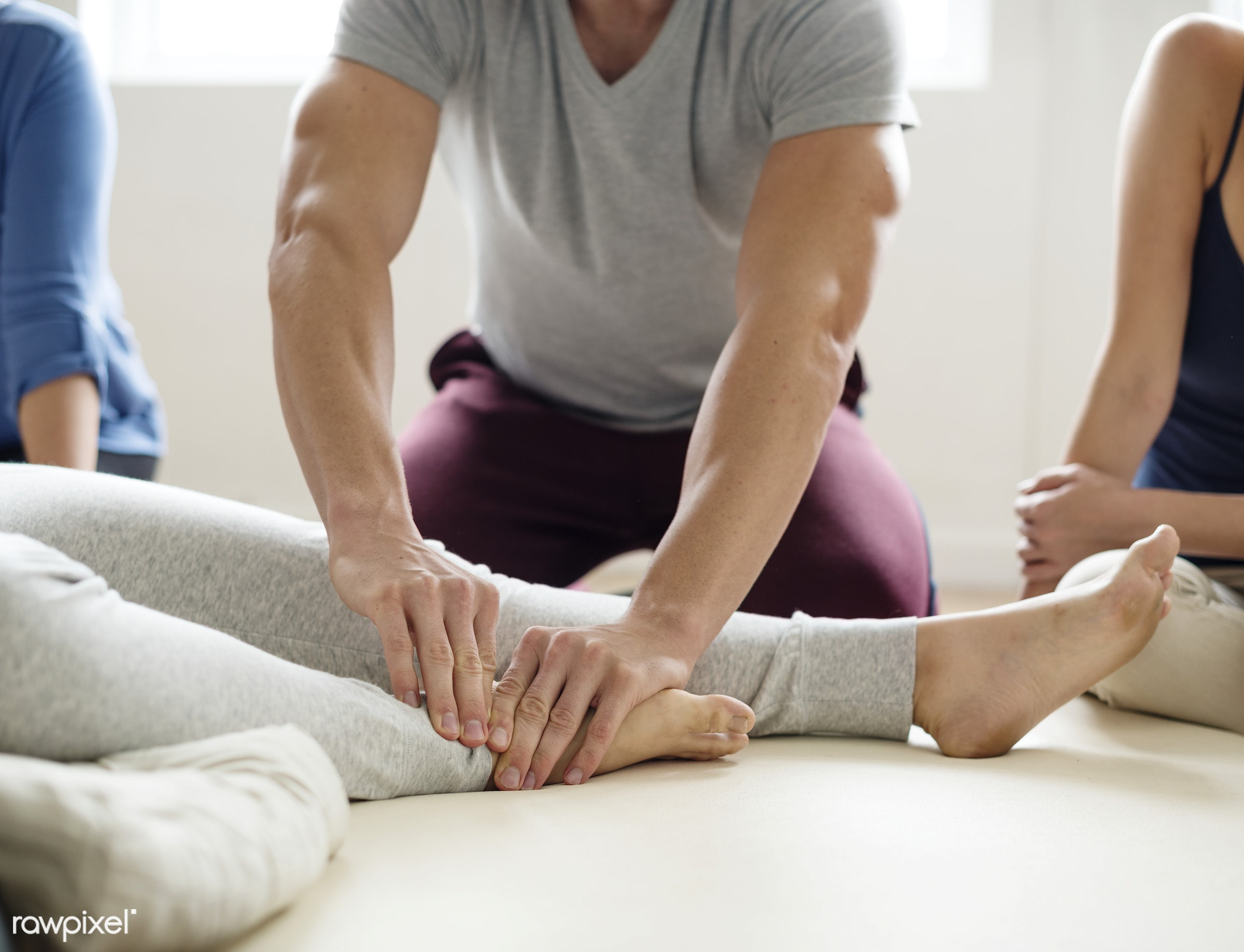 Healthy wellbeing massage training class - position, person, knowledge, relax, treatment, indoors, masseur, massaging,...