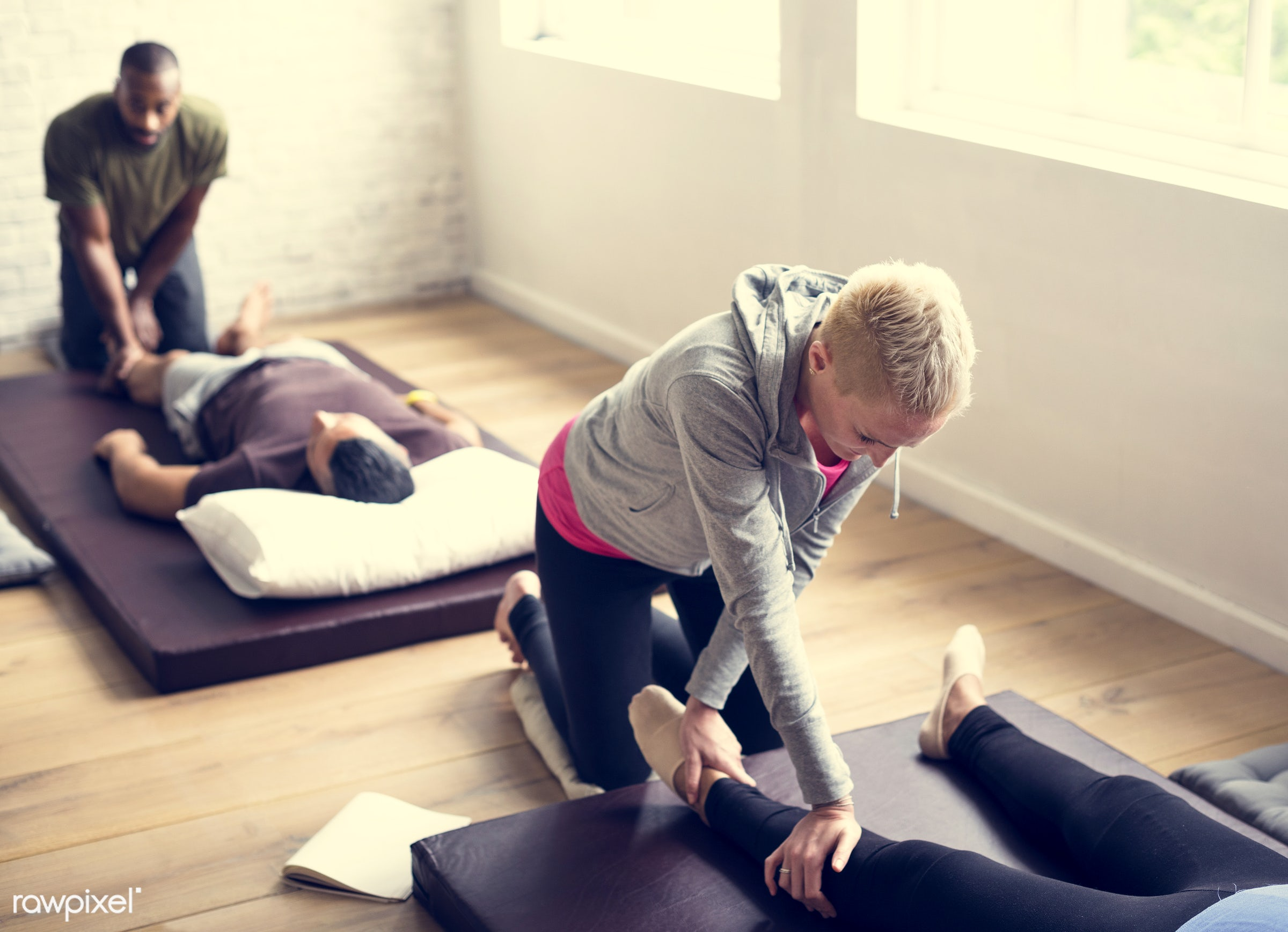 position, person, knowledge, relax, treatment, indoors, masseur, massaging, people, comfortable, training, course, tranquil...