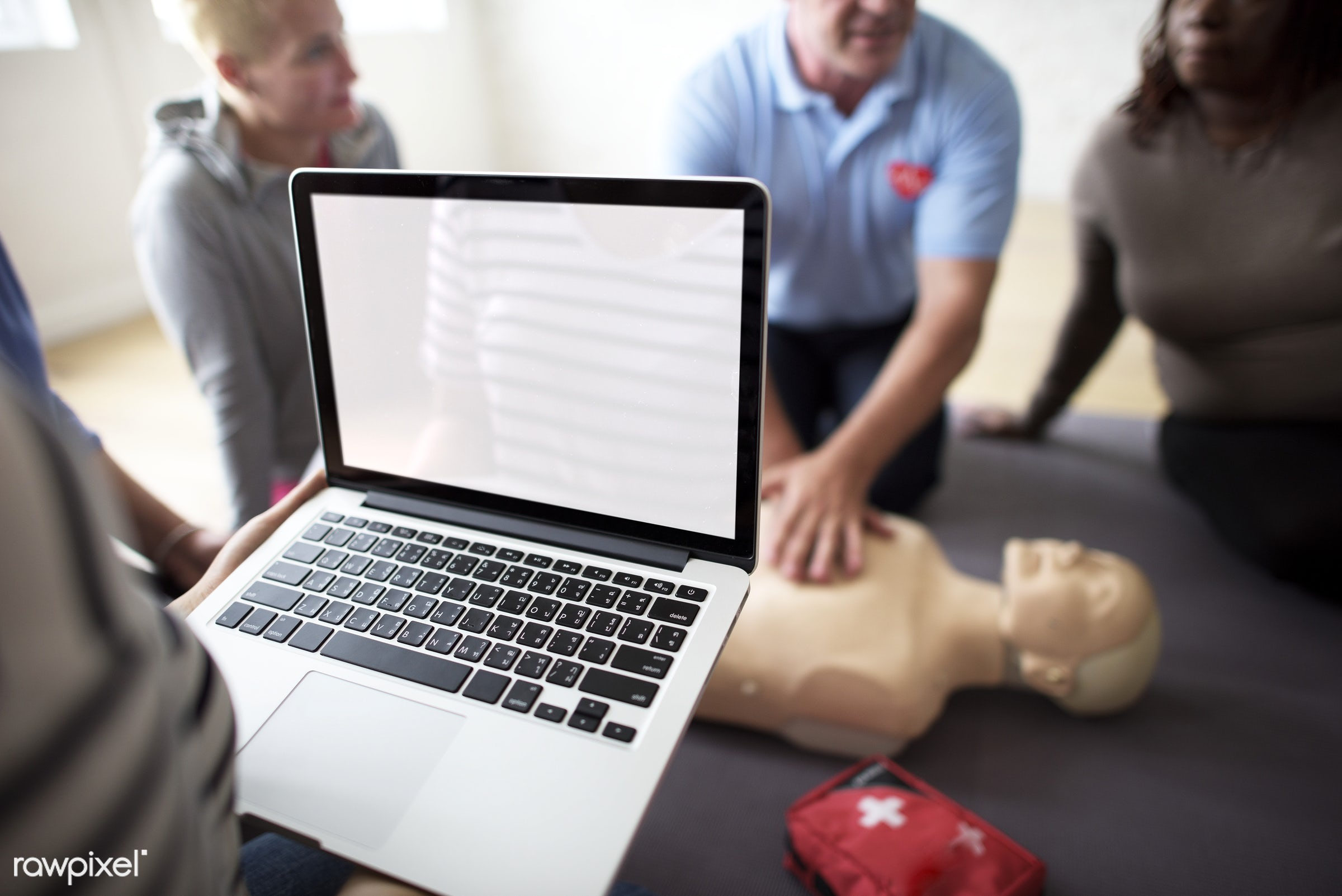 CPR first aid training class - cpr training, person, technology, knowledge, save, first aid, treatment, resuscitation,...