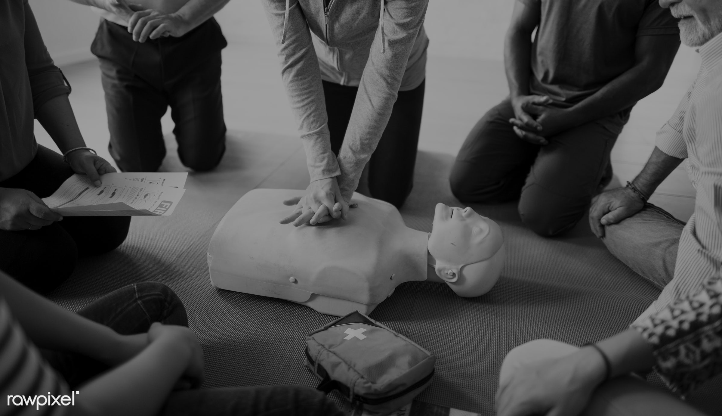 cpr training, person, knowledge, save, first aid, black and white, resuscitation, treatment, emergency, indoors, aid, people...