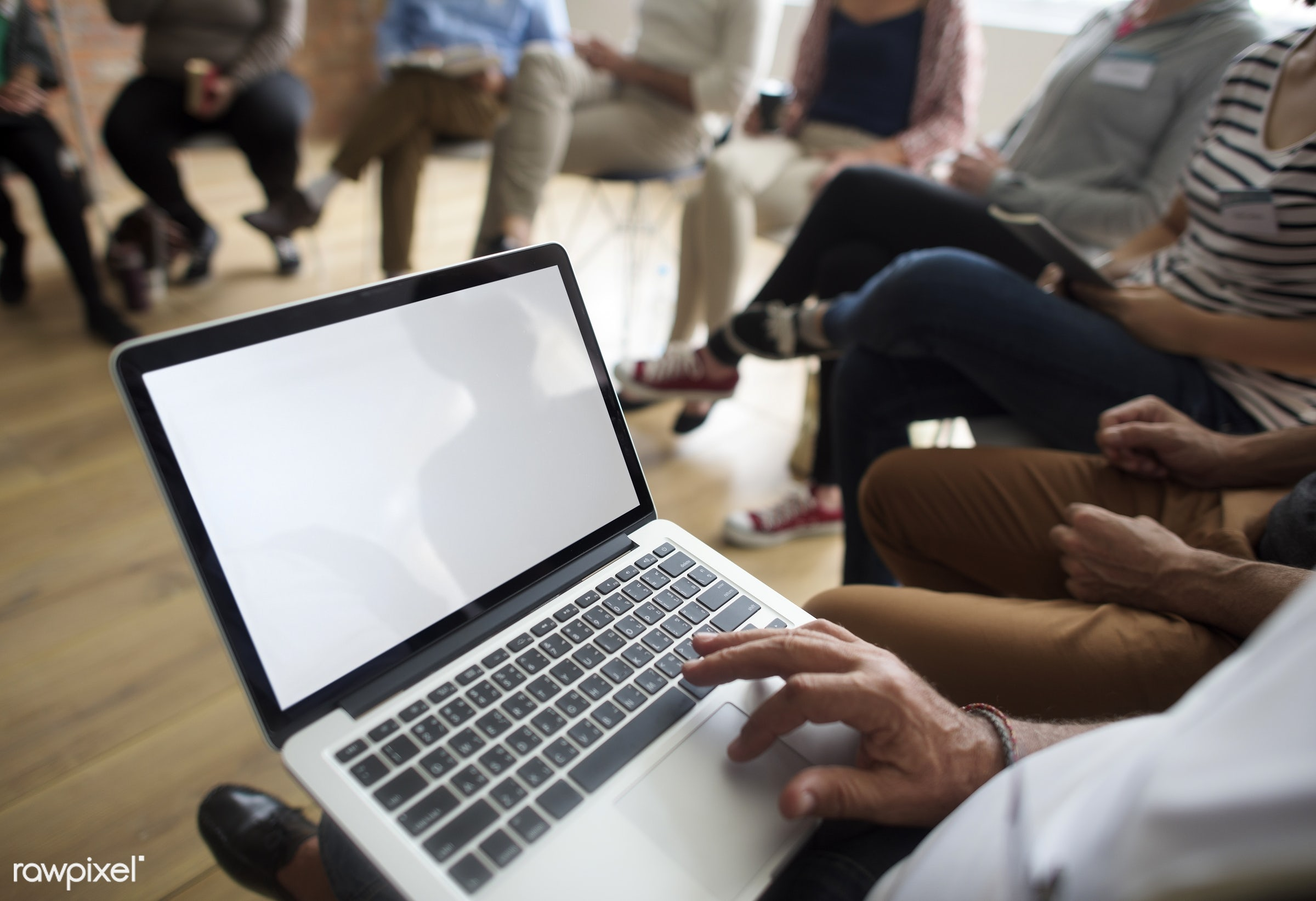 Laptop Networking Seminar Event Concept - person, technology, discussion, people, together, teamwork, communicate, event,...