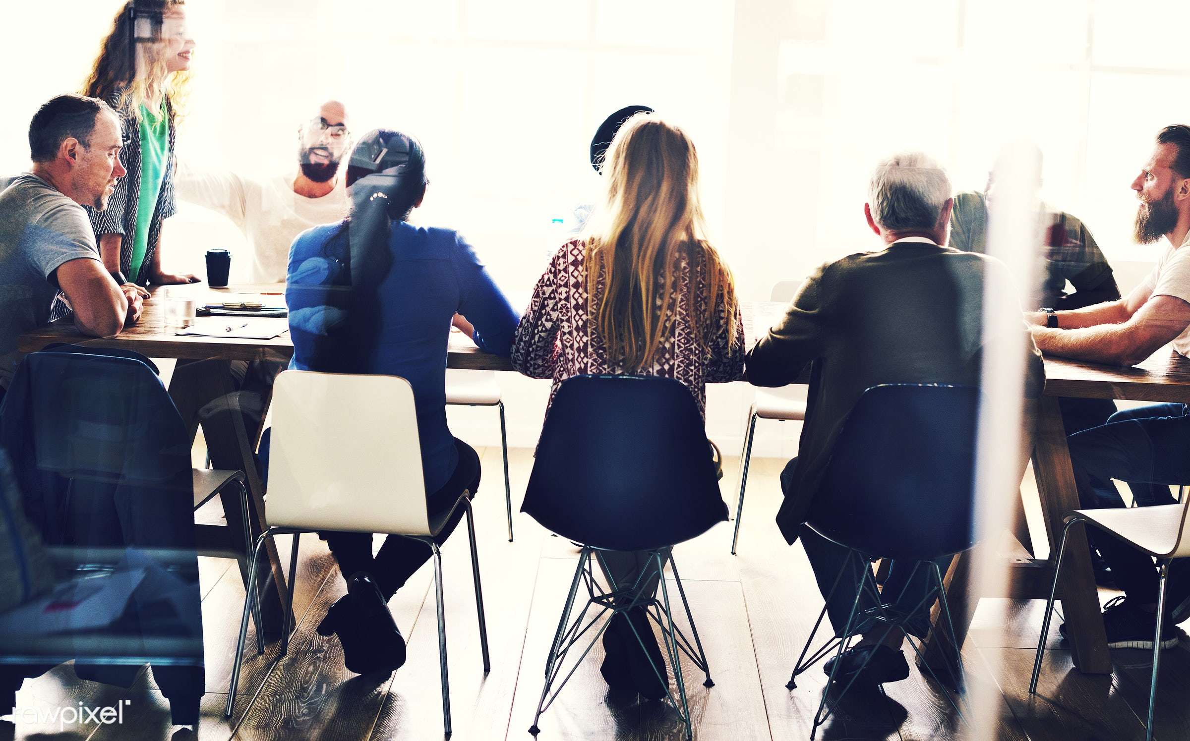 Diverse group of people in a seminar - person, collaboration, chairs, people, together, caucasian, help, friends, girl,...