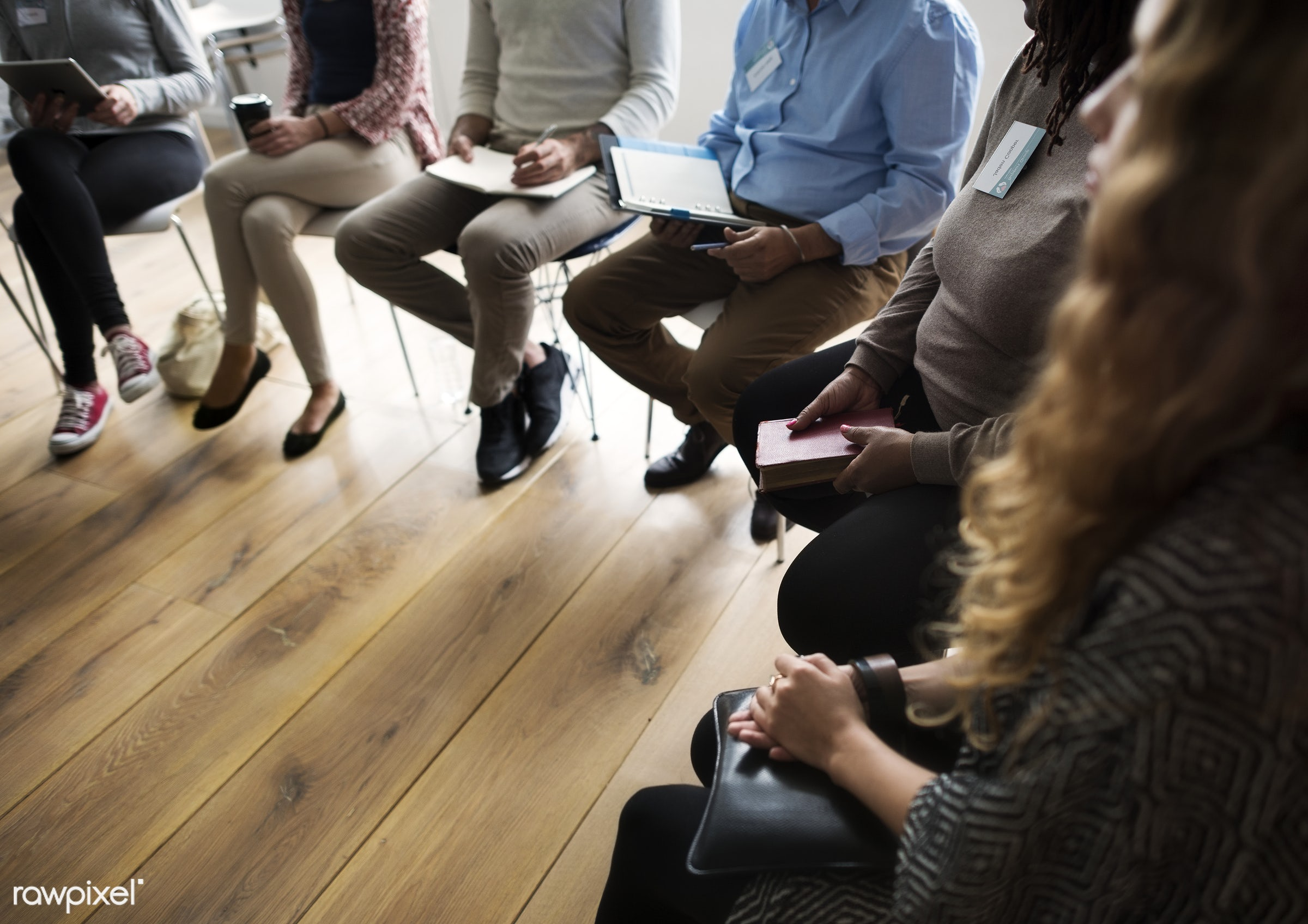 Diverse group of people in a seminar - person, collaboration, chairs, people, together, caucasian, help, girl, friends,...