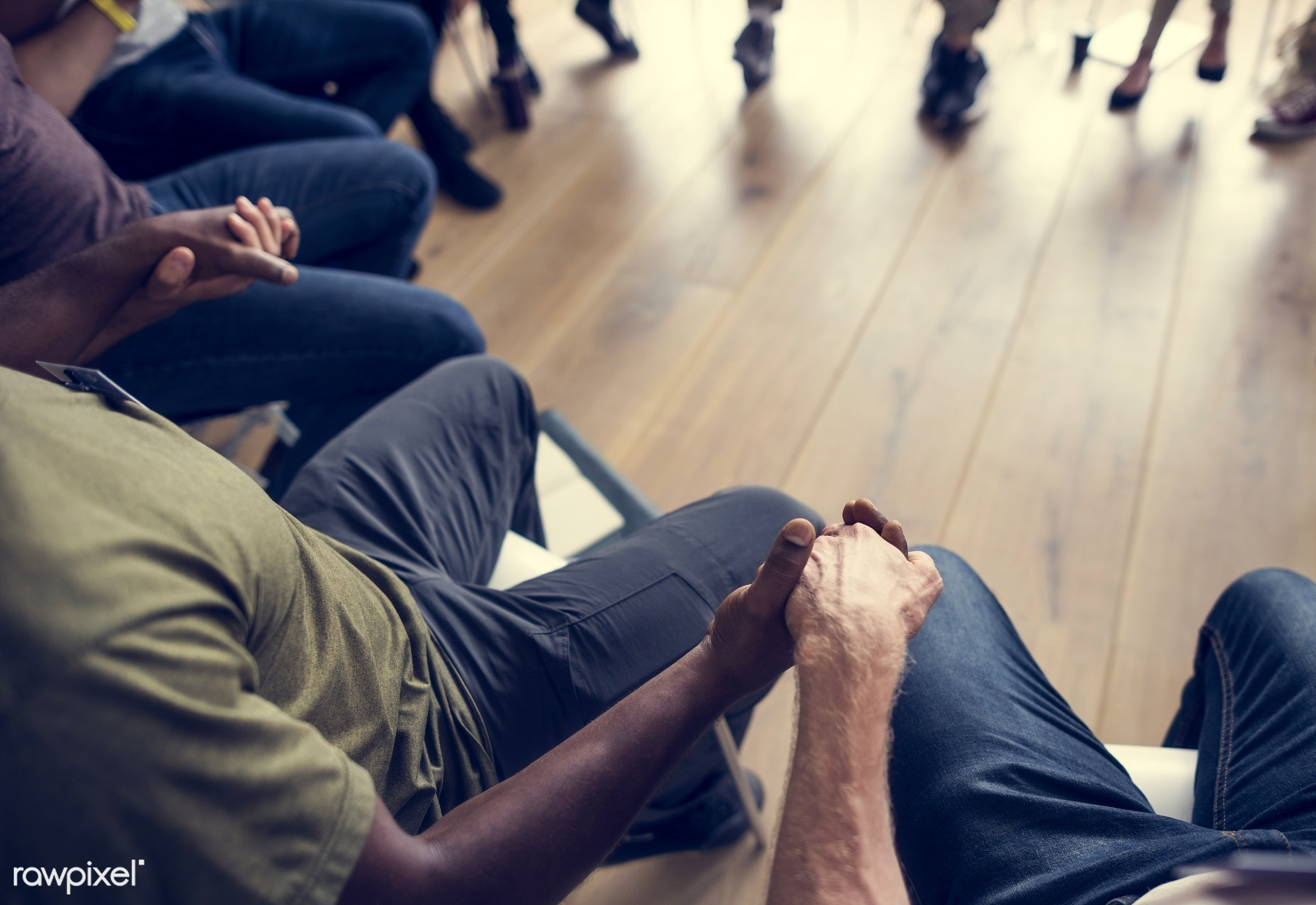 person, collaboration, african ethnicity, chairs, holding, circle, people, together, caucasian, hand, help, girl, friends,...