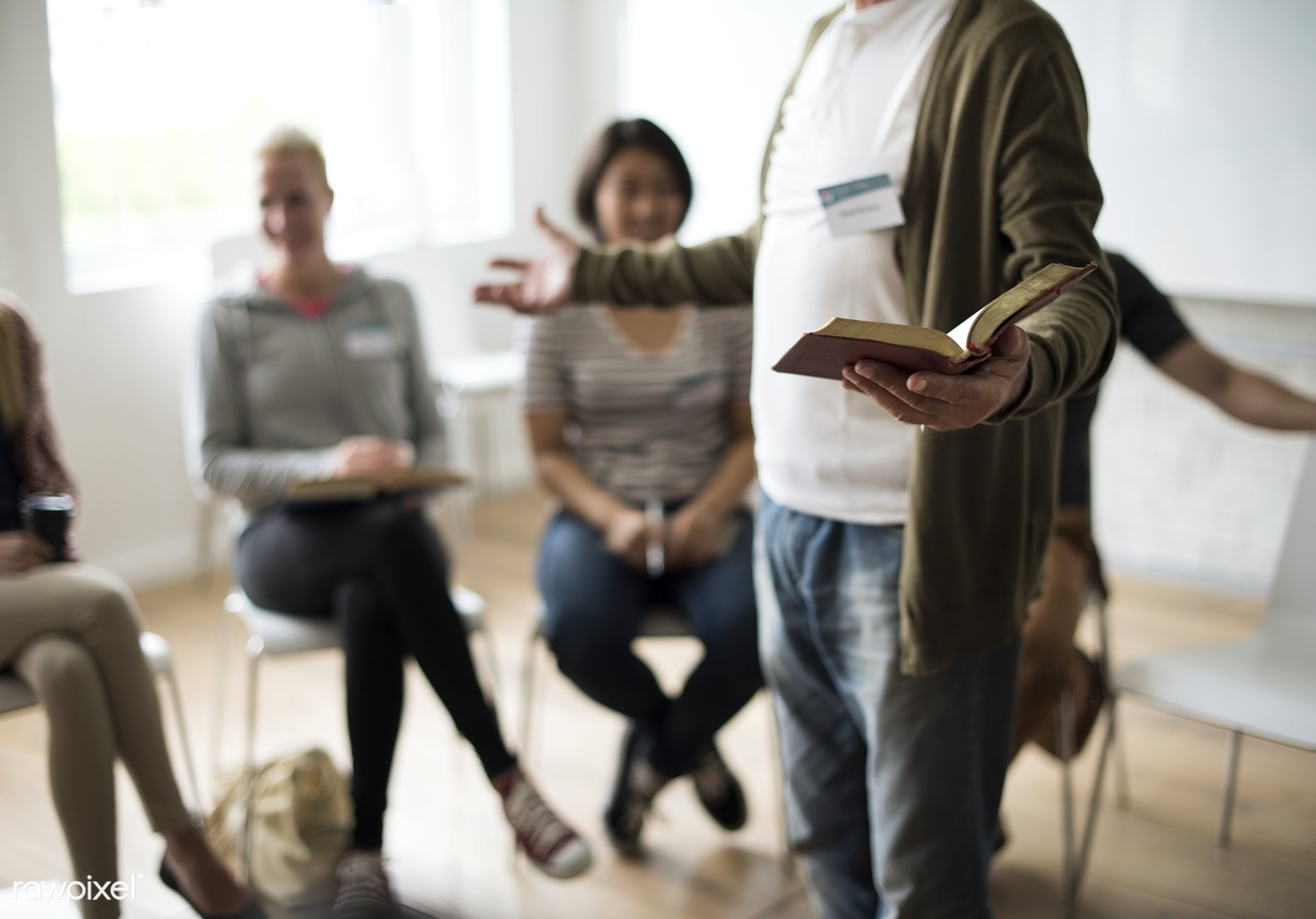 Bible study group - person, collaboration, chairs, people, together, caucasian, help, girl, friends, social, woman,...