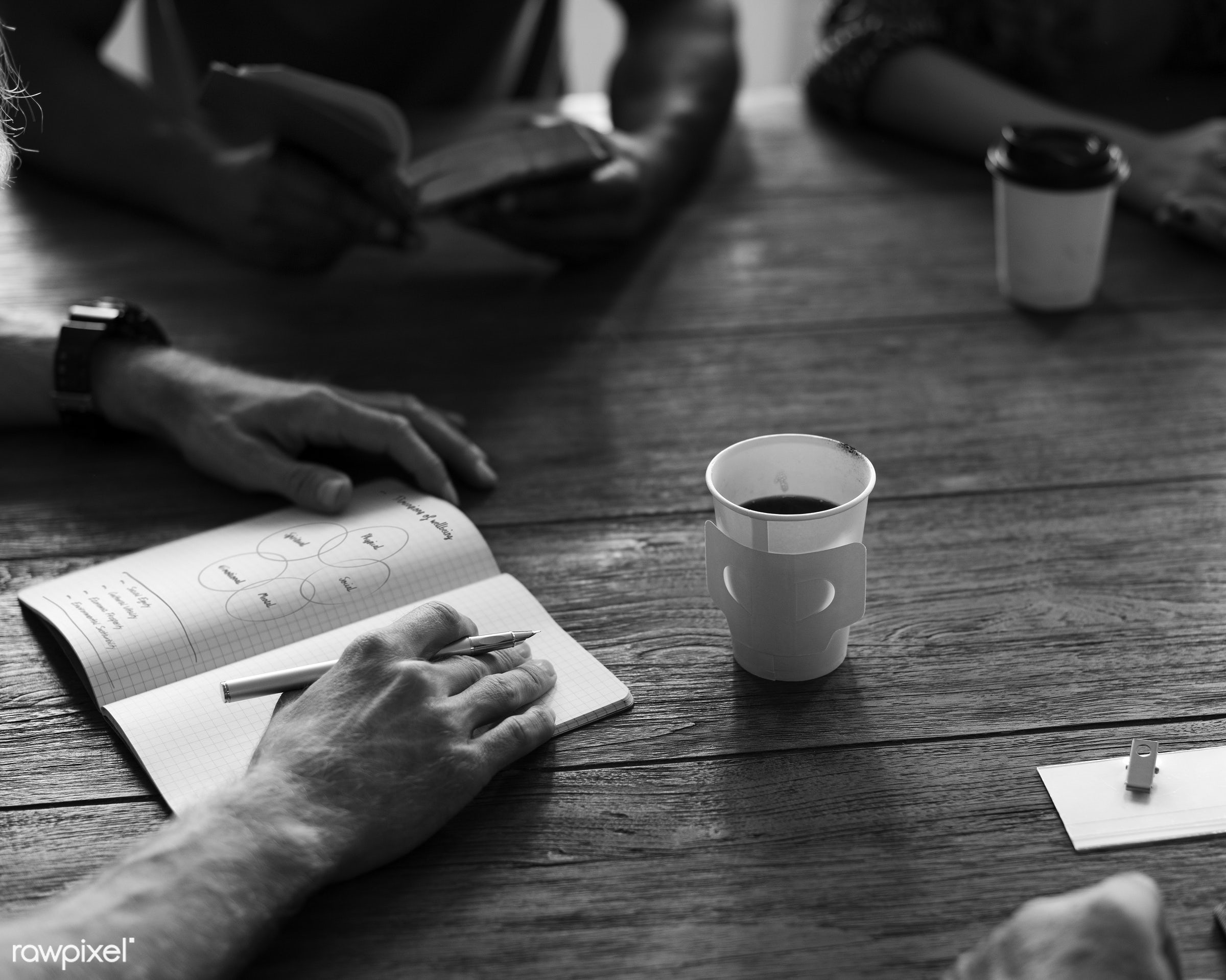 Meeting Table Networking Sharing Concept - person, discussion, black and white, indoors, circle, people, together, business...