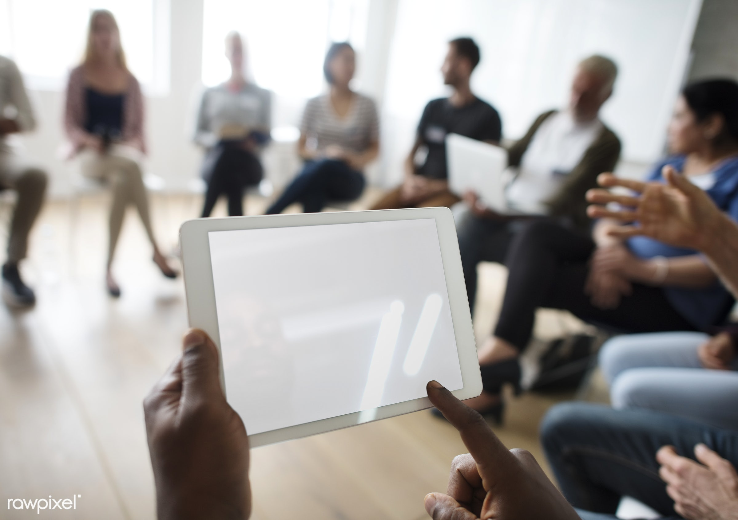 Tablet Networking Seminar Event Concept - person, discussion, technology, indoors, circle, people, together, business,...