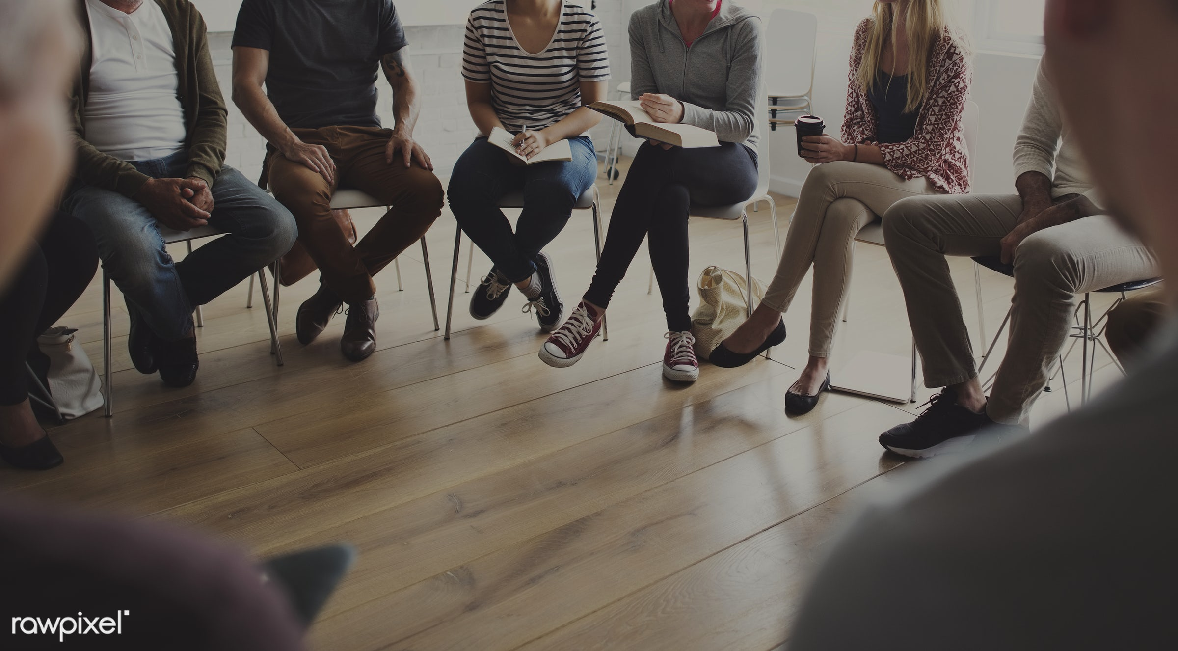 Diverse group of people in a seminar - discussion, diverse, bonding, circle, people, together, help, teamwork, share,...