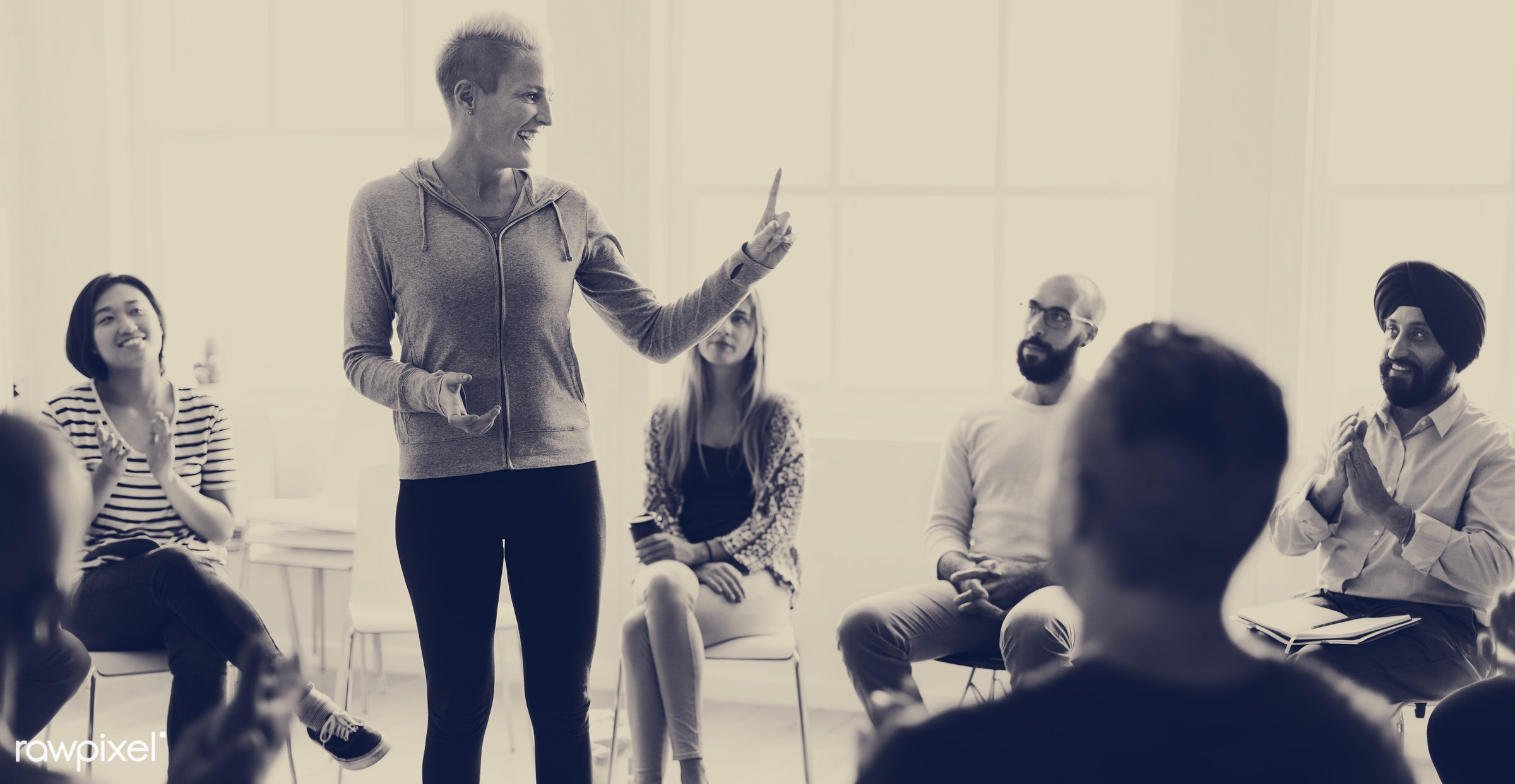 person, discussion, black and white, indoors, circle, people, together, business, share, teamwork, sharing, communicate,...