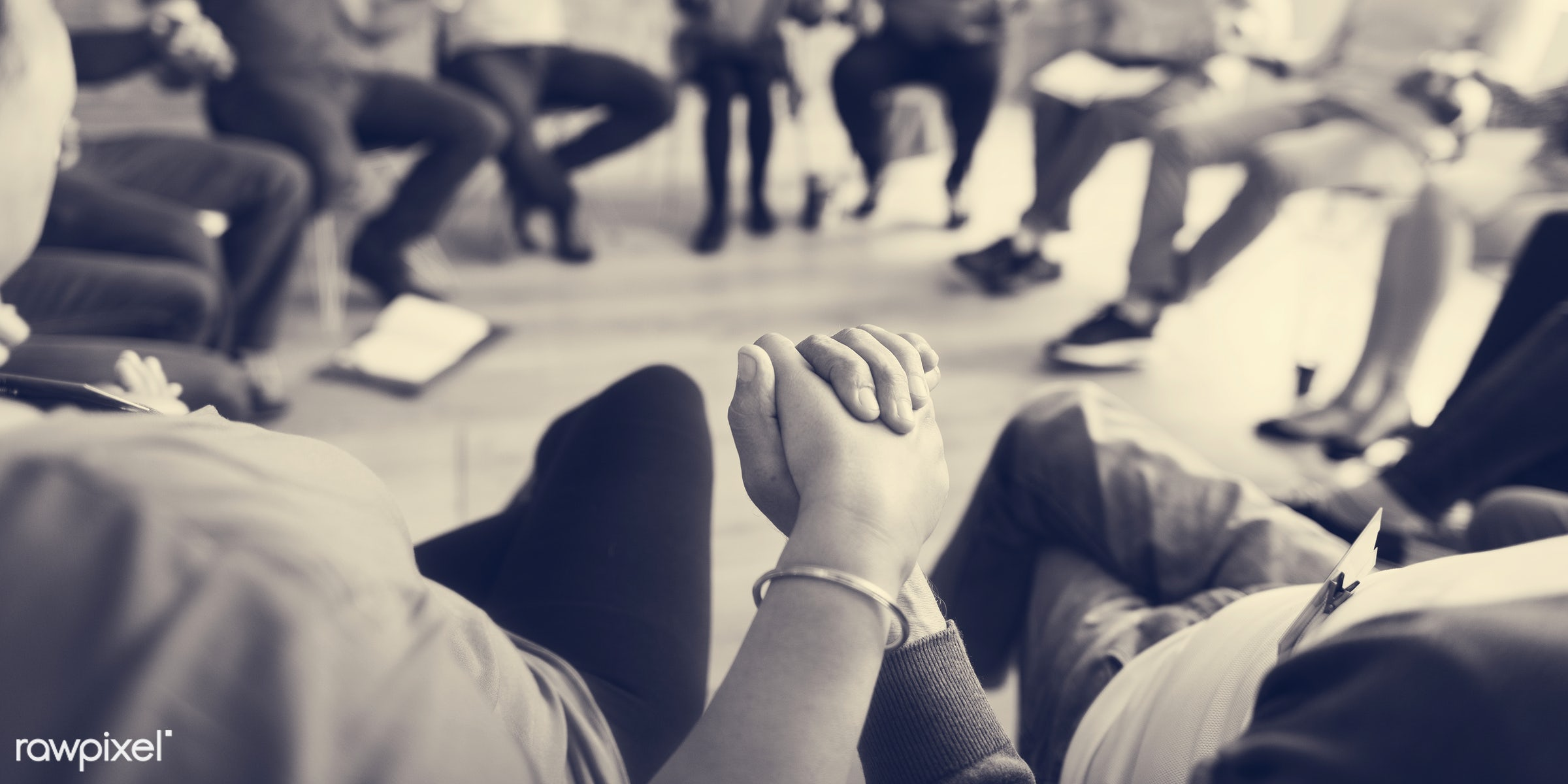 person, discussion, black and white, indoors, circle, people, business, together, bond, share, teamwork, sharing, hands,...