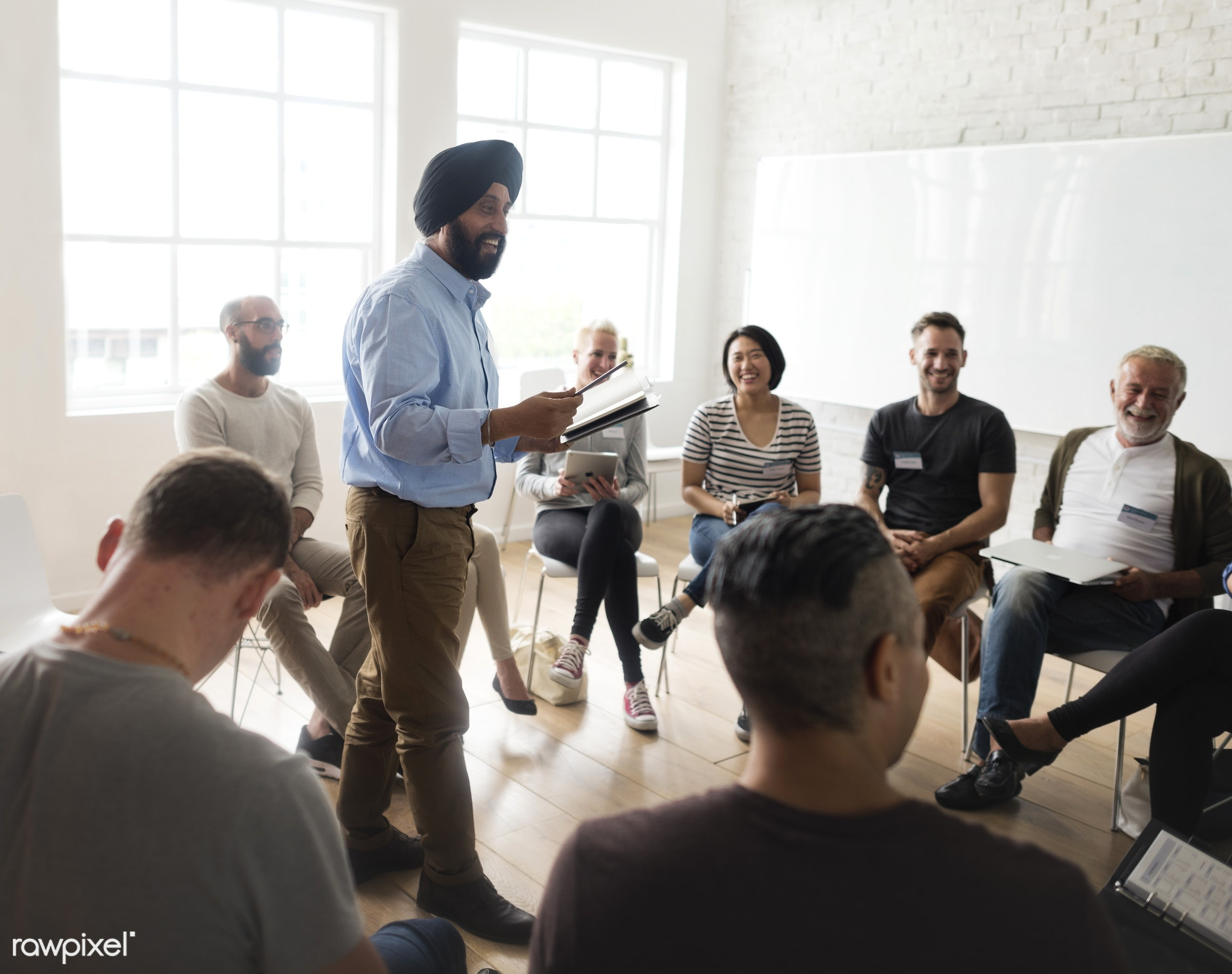 Networking Seminar Meet Ups Concept - person, discussion, indoors, circle, people, together, business, share, teamwork,...