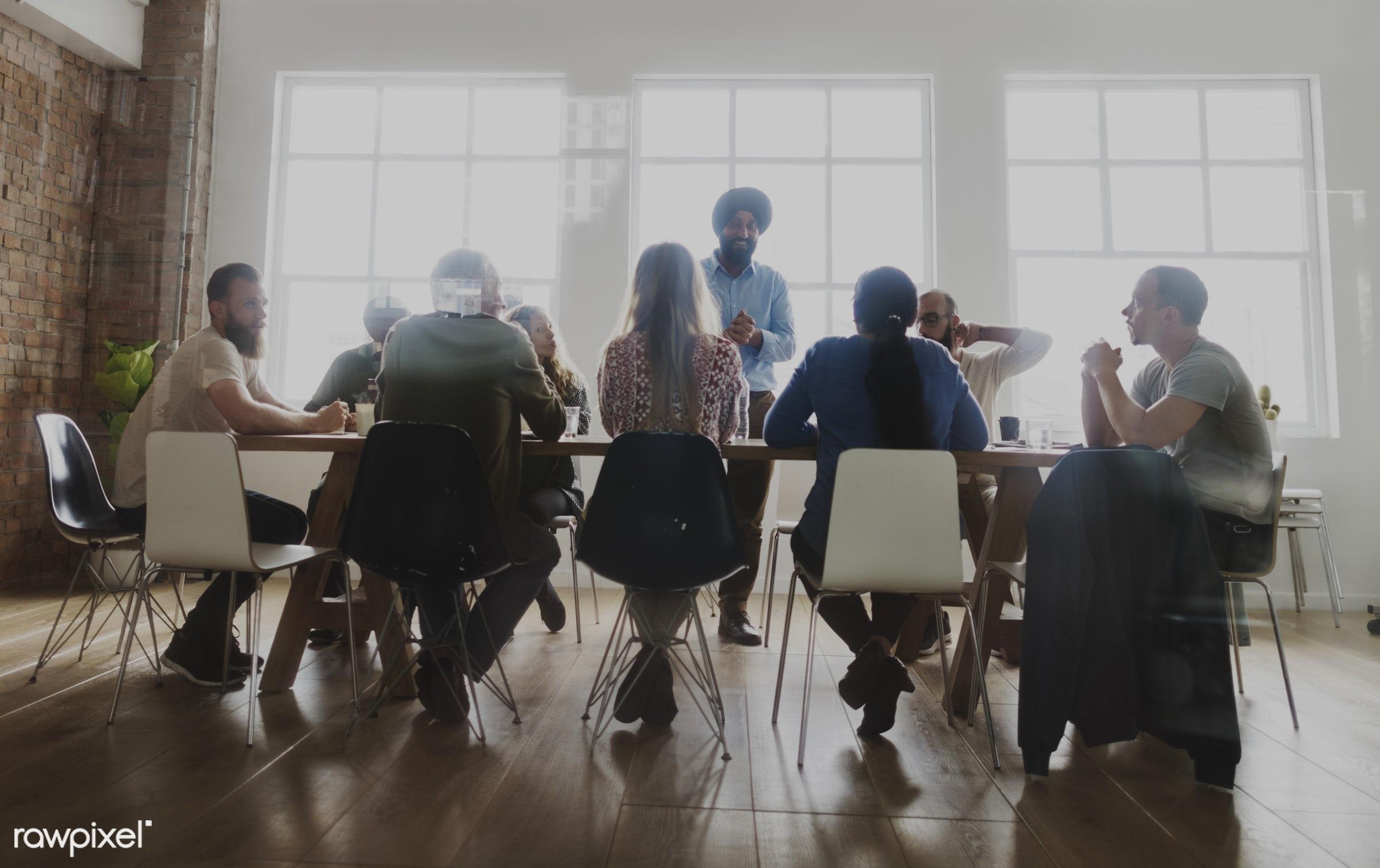 Diverse people teamwork on meeting table - discussion, diverse, people, together, business, teamwork, share, friends,...