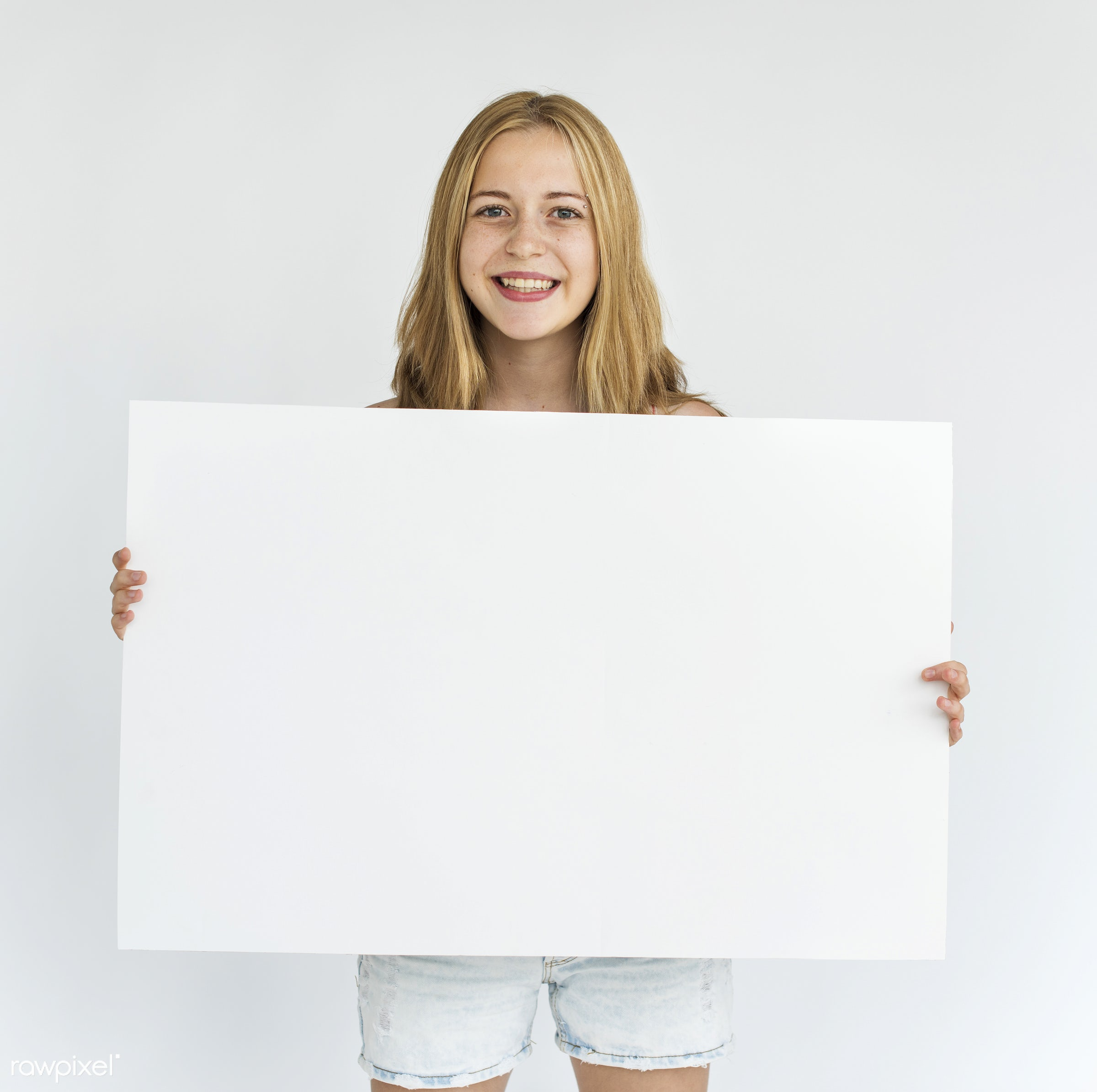 studio, person, holding, nice, placard, woman, teenager, empty, smile, cheerful, smiling, isolated, canvas, happiness, youth...