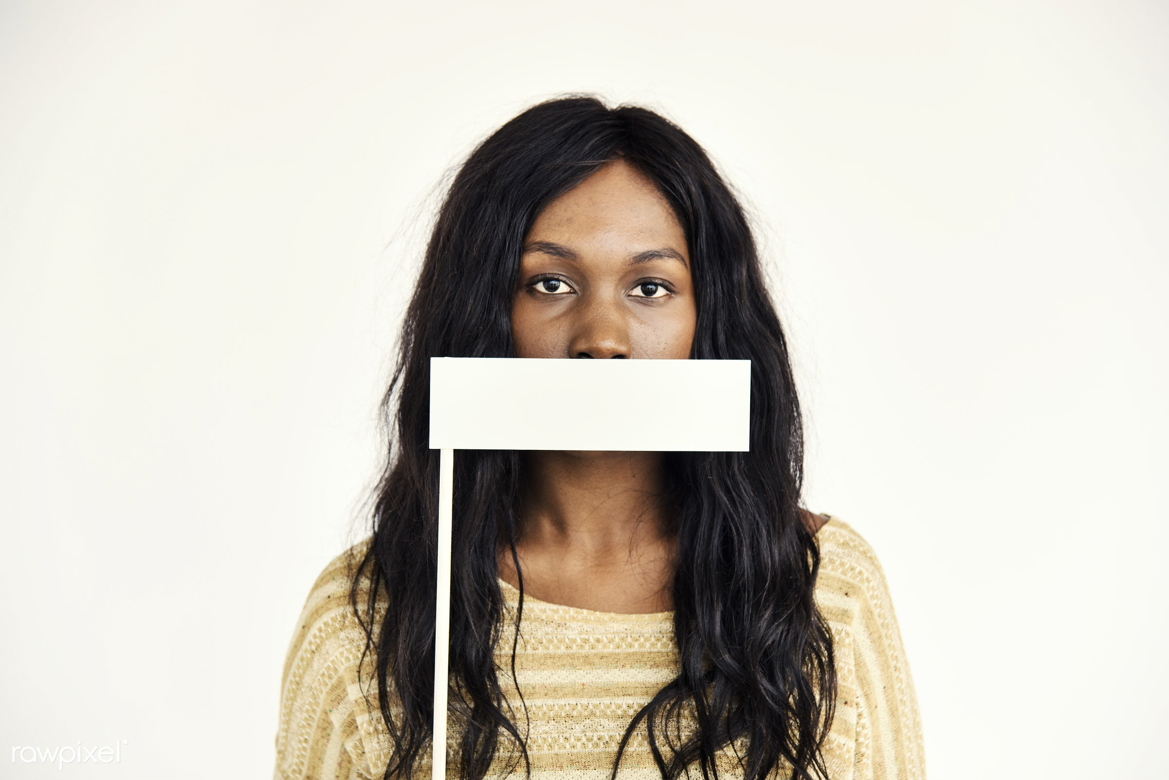 copy space, african, threat, isolated on white, covering, eligible, mouth covered, woman, alone, censor, forced, covered,...