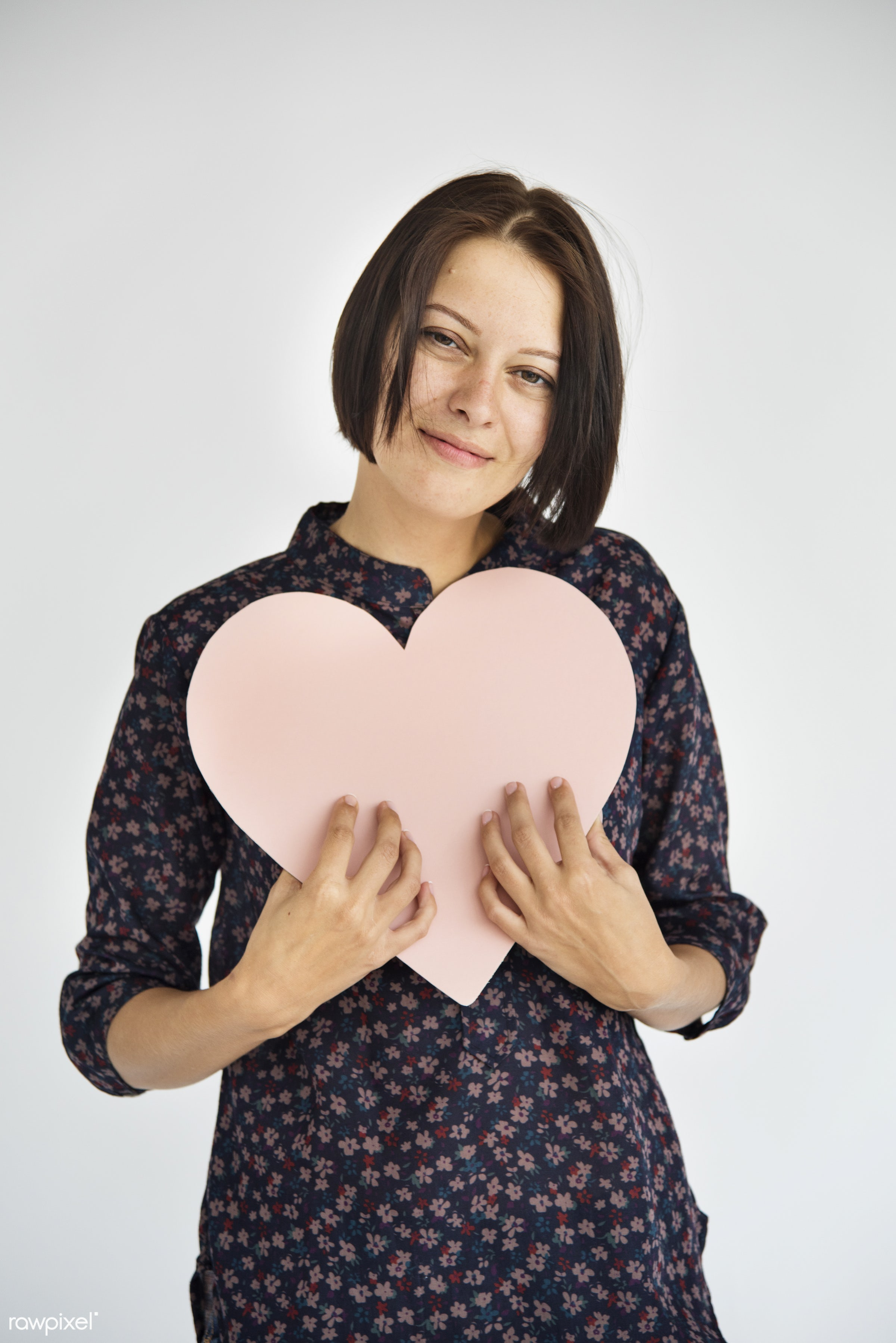 person, holding, people, caucasian, love, help, woman, care, positive, cheerful, smiling, isolated, heart, valentines,...