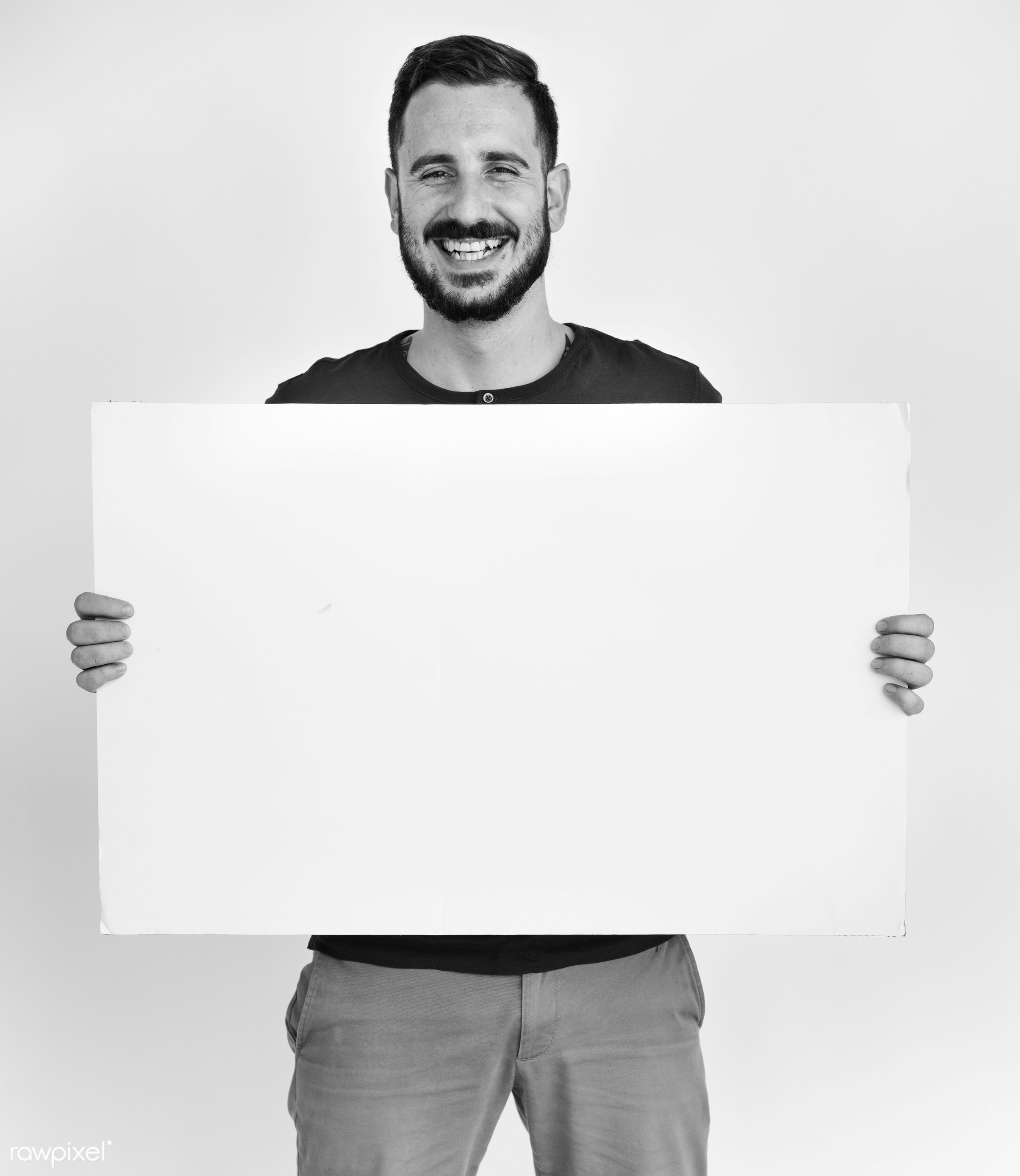 studio, person, holding, people, placard, empty, smile, cheerful, smiling, isolated, canvas, happiness, board, project,...