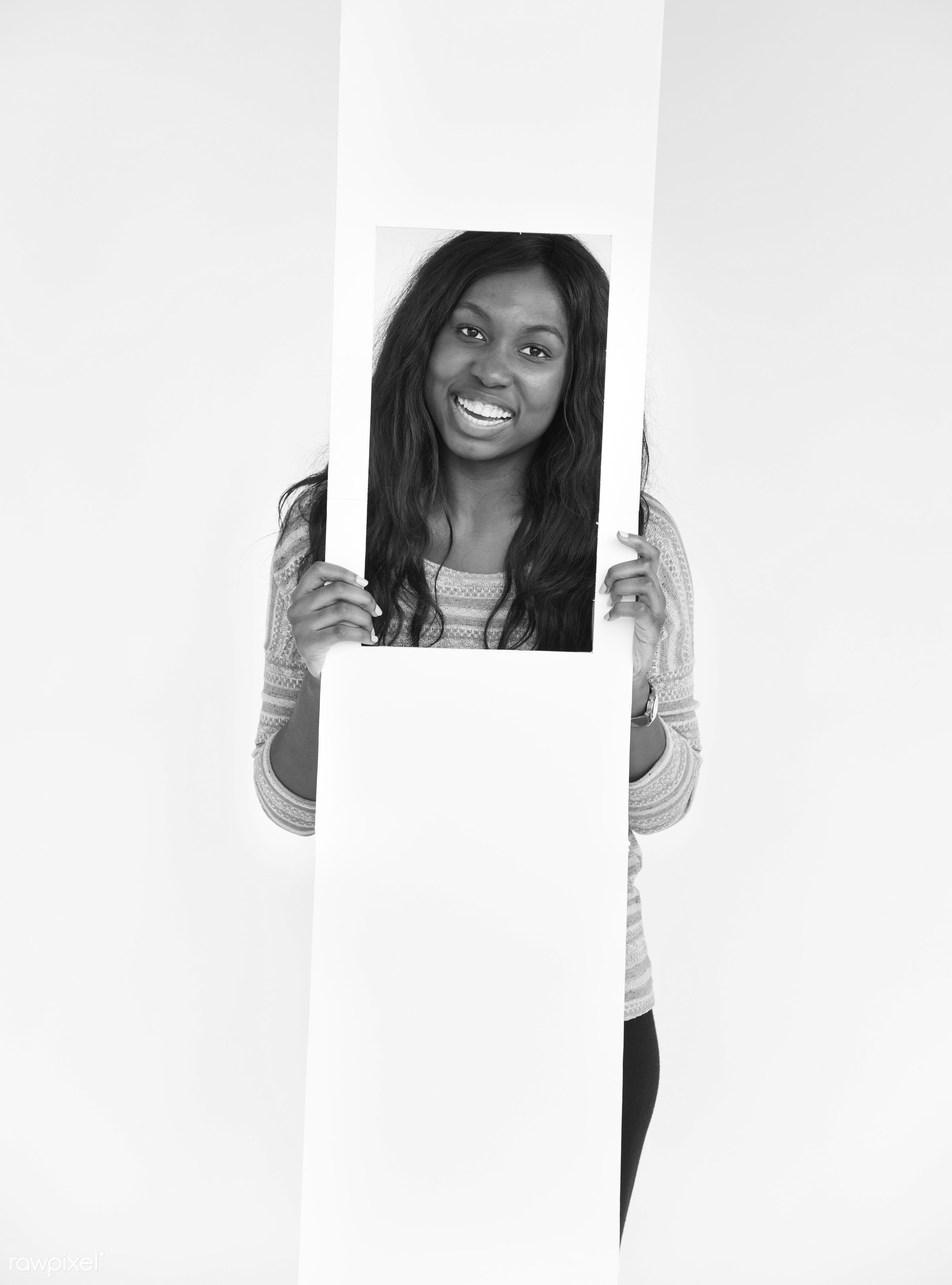 face, person, satisfied, african, holding, isolated on white, one, optimistic, cute, pretty, girl, student, fresh, happy,...