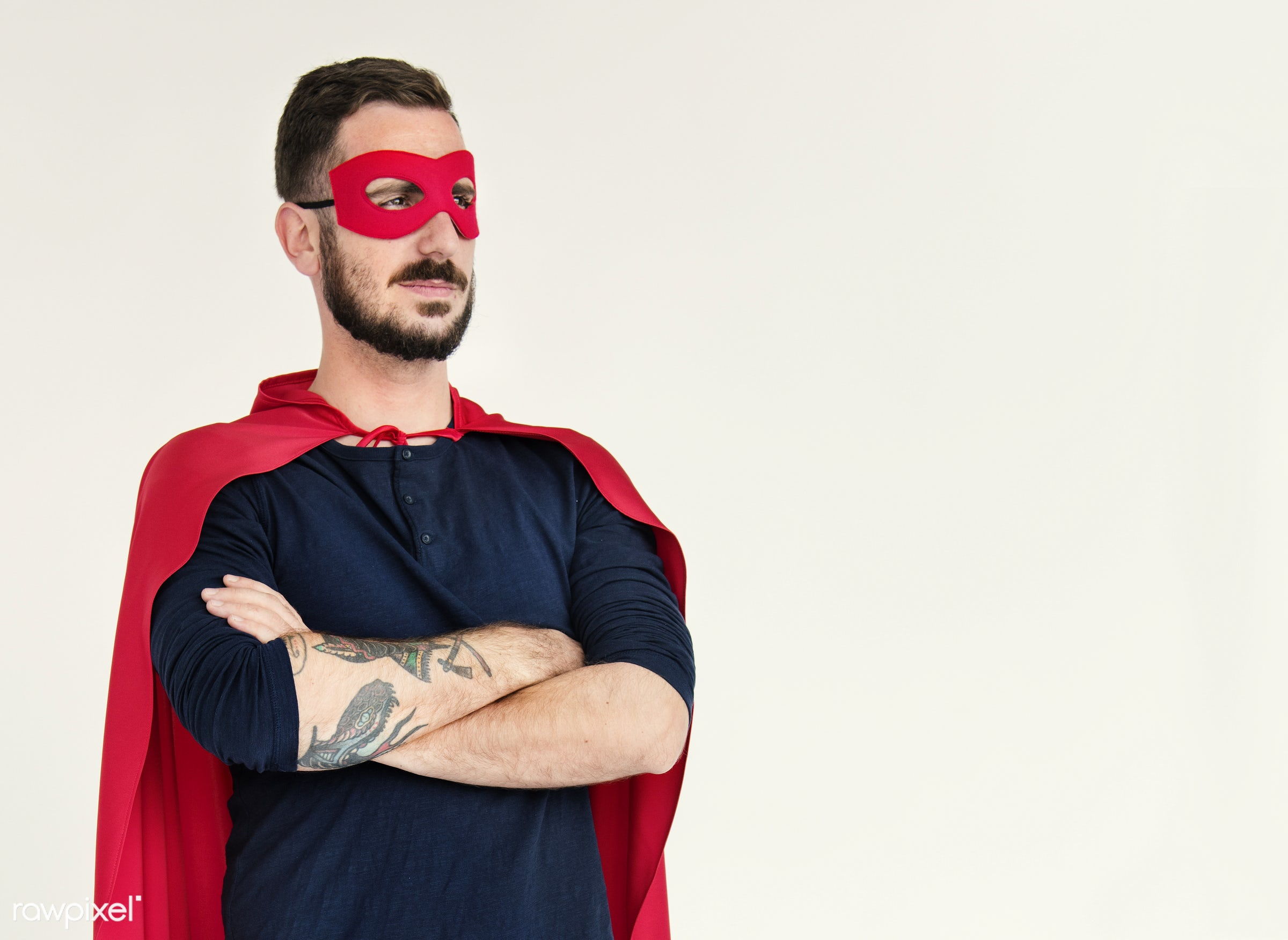 studio, person, rescue, mask, people, caucasian, power, tattoo, cheerful, smiling, cool, isolated, achievement, hero,...