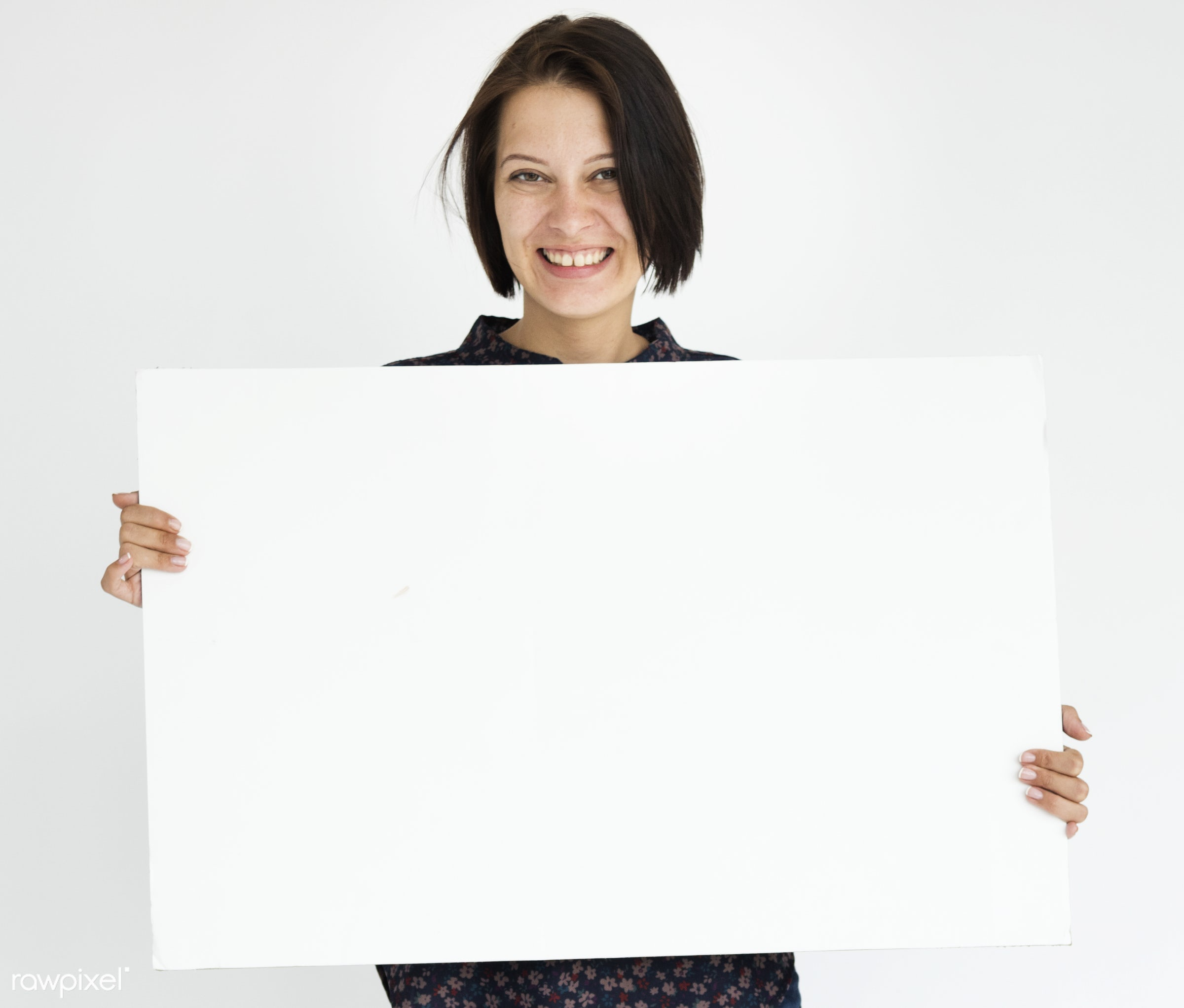 studio, expression, copy space, holding, people, positivity, caucasian, placard, girl, solo, woman, casual, empty, showing,...