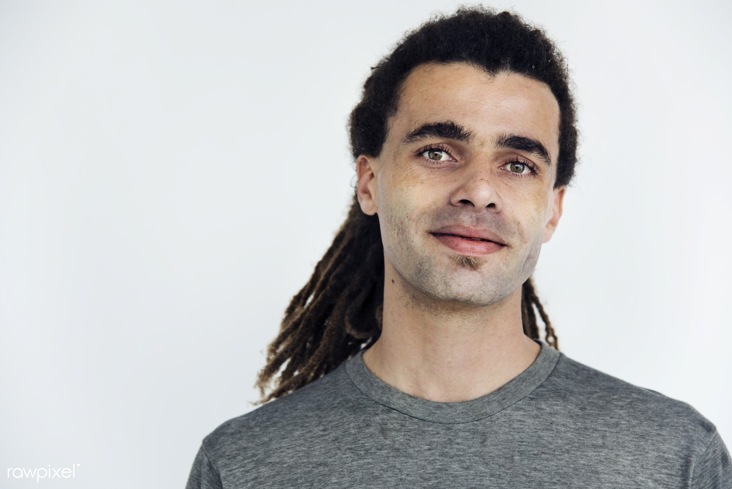 expression, person, normal, glancing, caucasian, staring, daydreaming, lifestyle, gentleman, isolated, dreadlocks, white,...