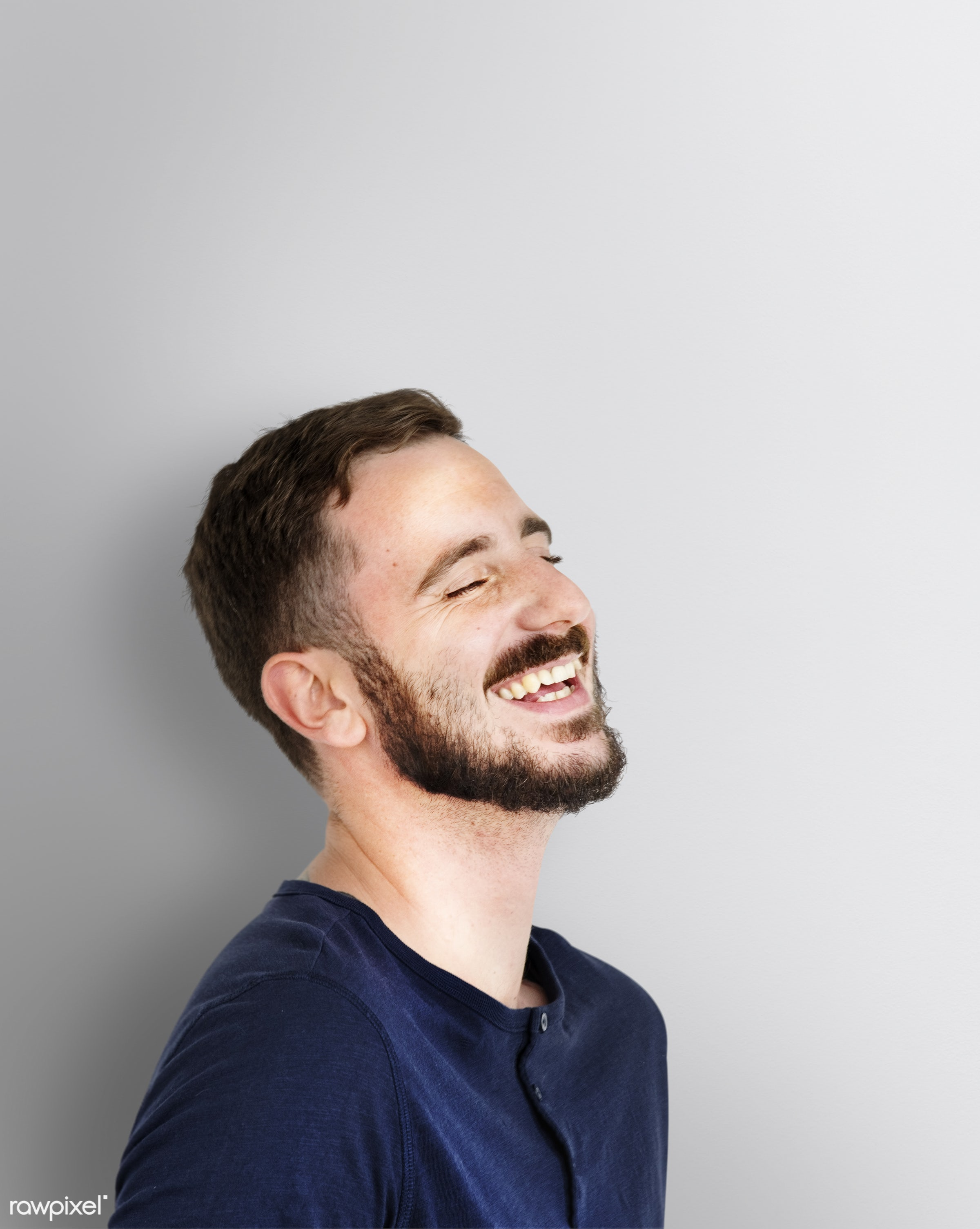 expression, face, isolated on white, joy, carefree, laughing, happy, lifestyle, casual, smile, cheerful, smiling, man,...