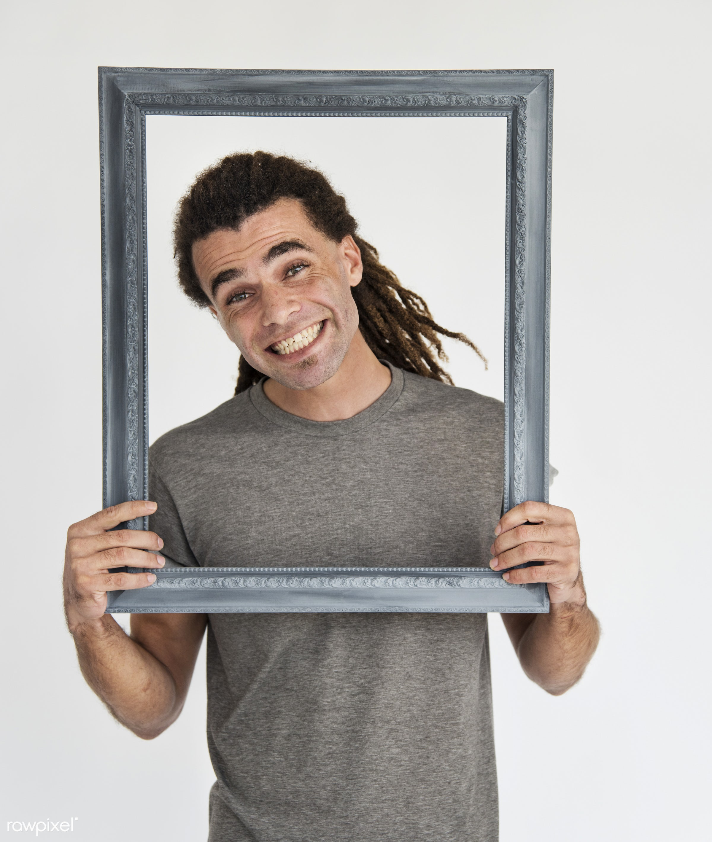 expression, person, holding, caucasian, lifestyle, positive, cheerful, smiling, gentleman, cool, isolated, dreadlocks,...