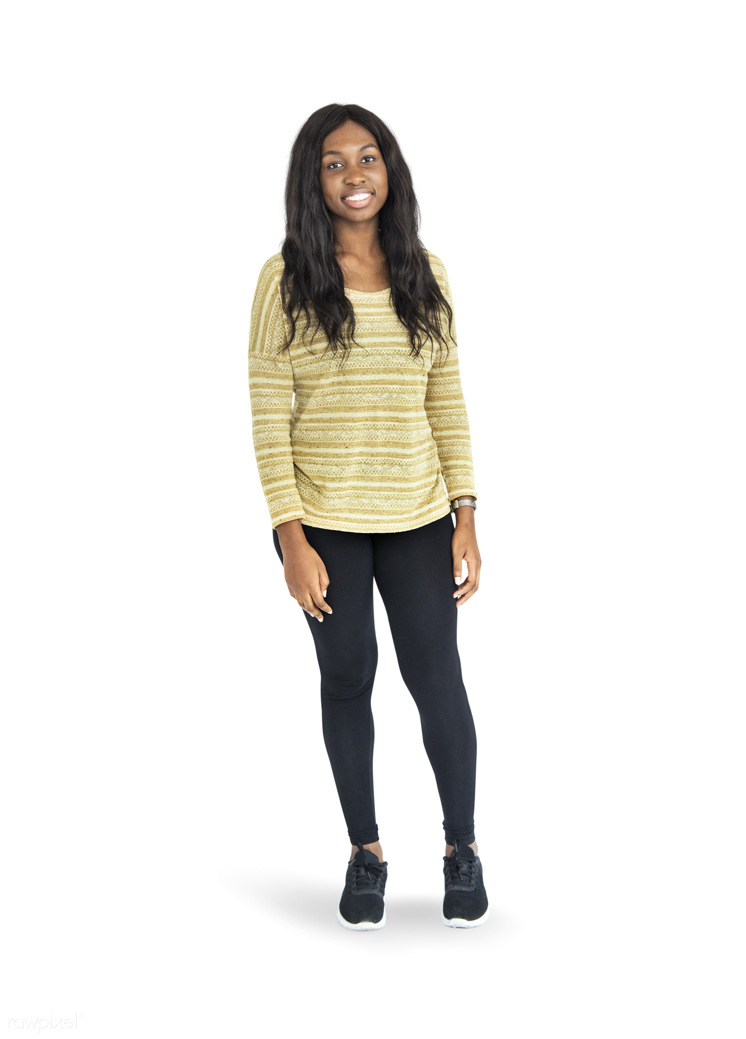 expression, person, satisfied, bright, relax, woman, teenager, lifestyle, smile, positive, cheerful, isolated, teen, african...