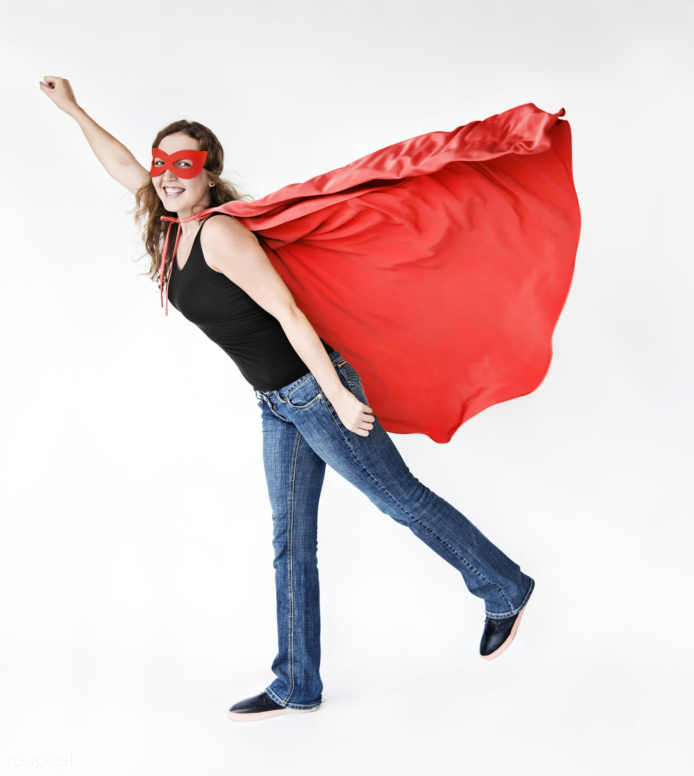 Girl in red superhero costime - super, superman, achievement, adult, casual, challenge, cheerful, cloak, confidence,...