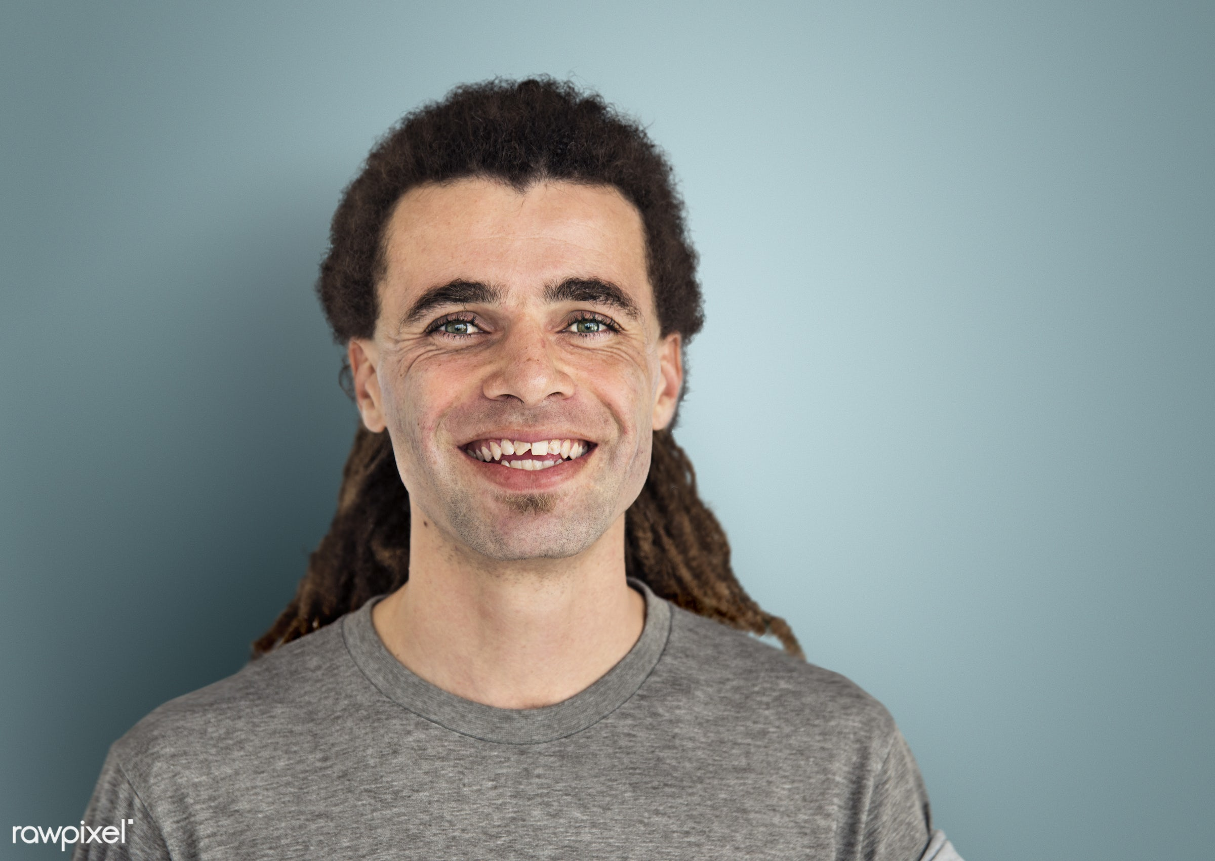 expression, person, caucasian, lifestyle, positive, cheerful, smiling, gentleman, cool, isolated, dreadlocks, alternative,...