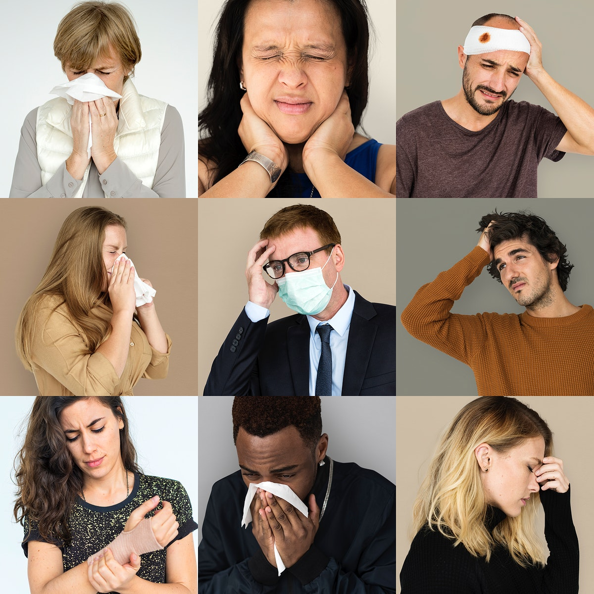 Collection of sickness people in pain