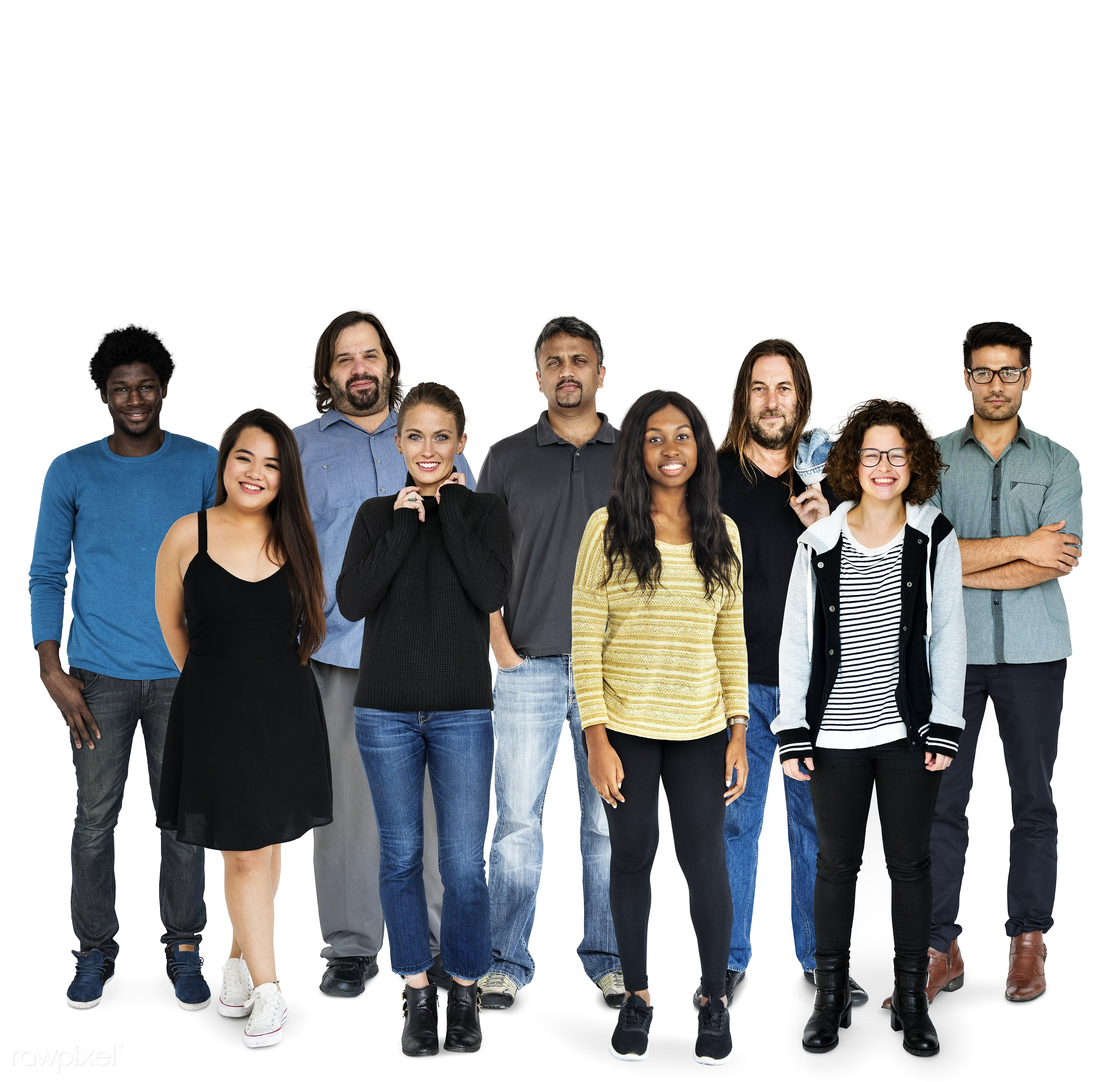 Diverse people set - gentlemen, studio, person, diverse, people, attraction, together, caucasian, asian, young adult, black...
