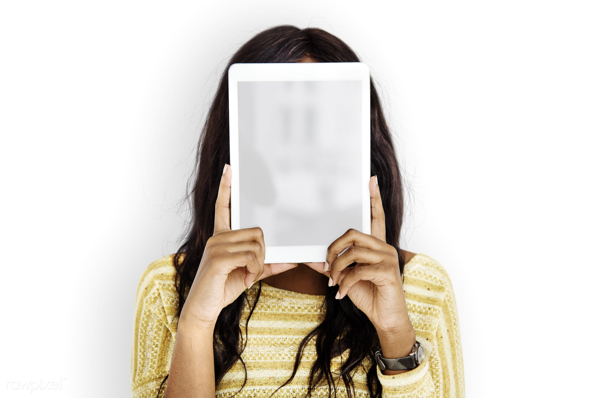 blank, casual, connection, copy space, covered, covered face, covering, digital tablet, gadget, hidden, holding, isolated,...
