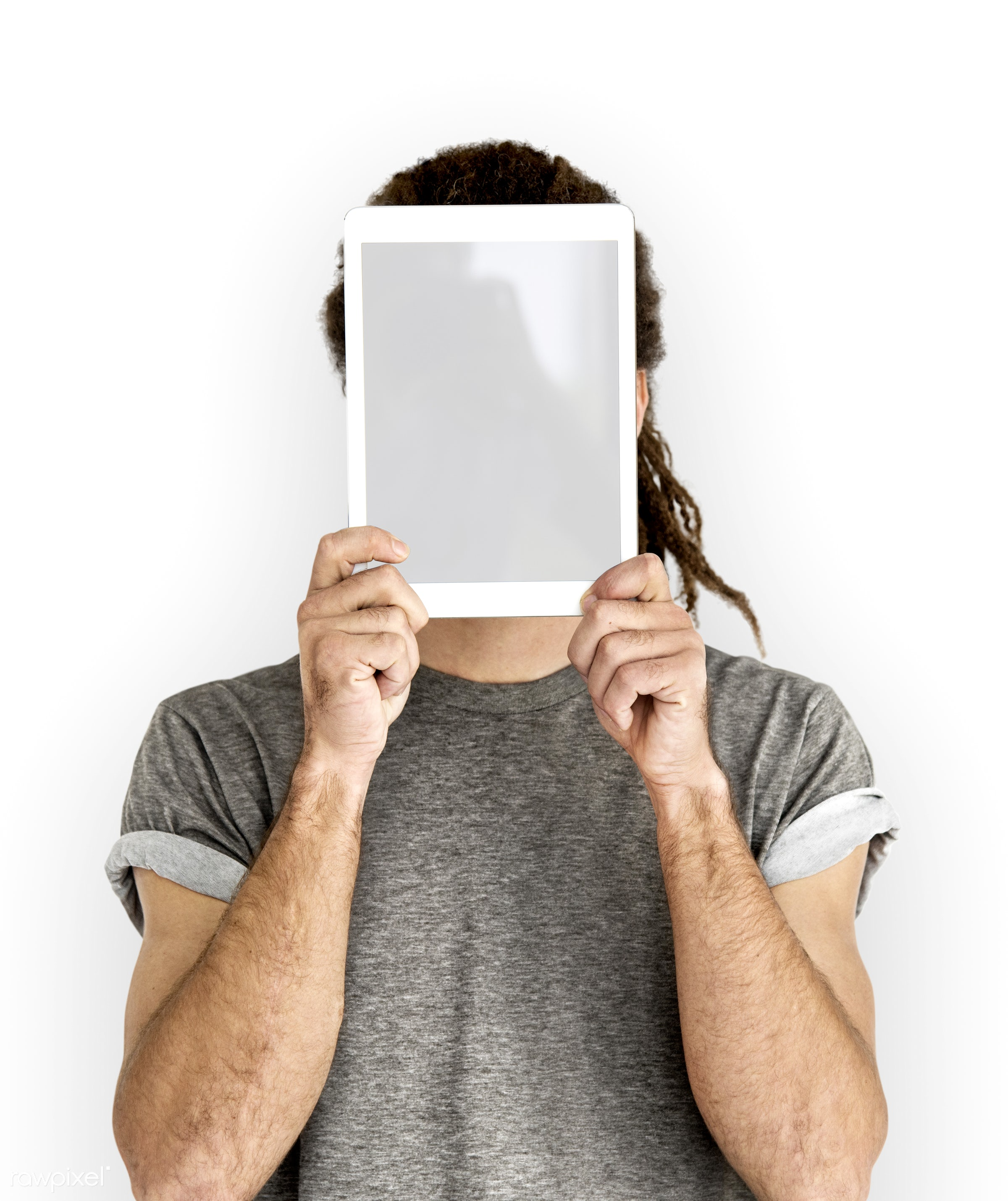 blank, casual, connection, copy space, covered, covered face, covering, digital tablet, dreadlocks, dreads, gadget, hidden,...
