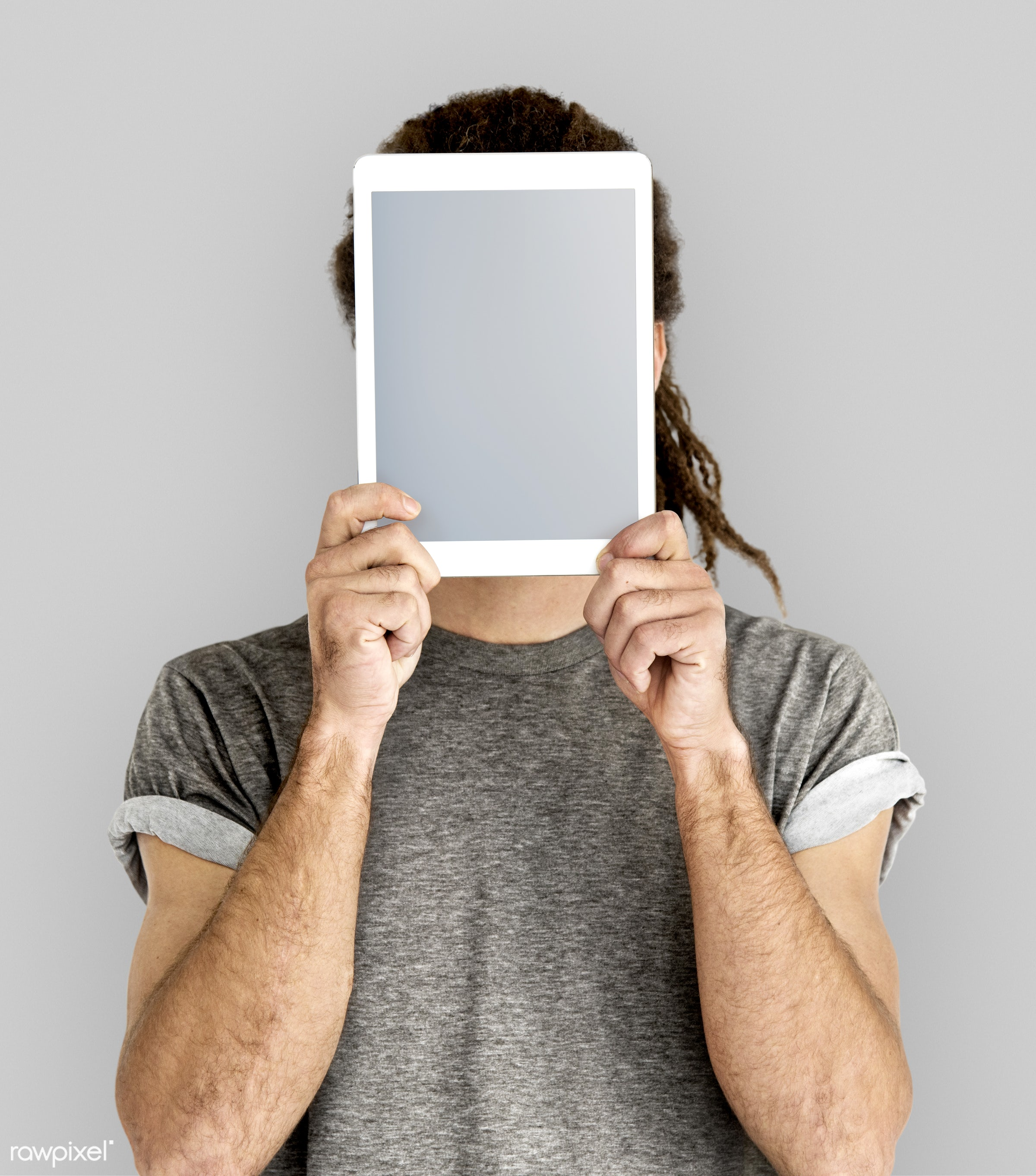studio, technology, portable, touchpad, holding, people, placard, empty, screen, isolated, canvas, display, board, project,...