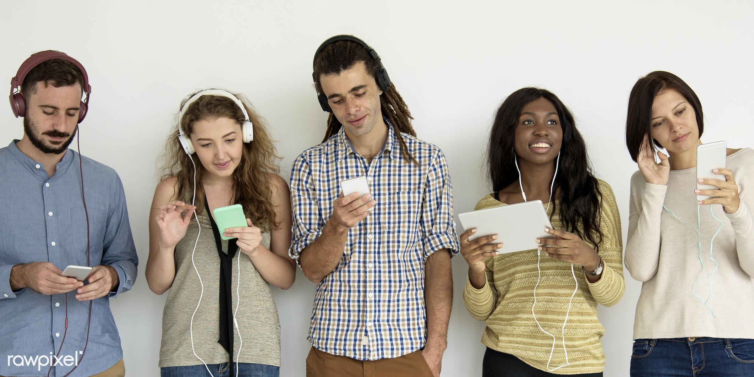 studio, song, headset, phone, diverse, digital, people, girl, friends, woman, casual, friendship, jam, playlist, smart phone...